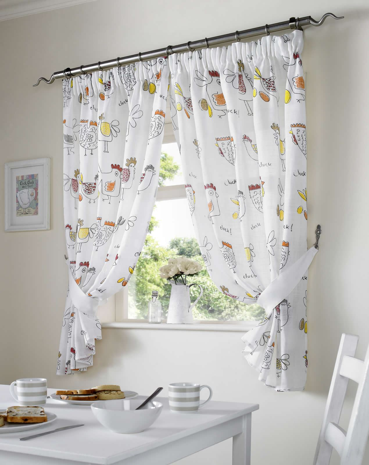 chickens kitchen curtains ready made pairs dining room curtains all sizes ebay. Black Bedroom Furniture Sets. Home Design Ideas