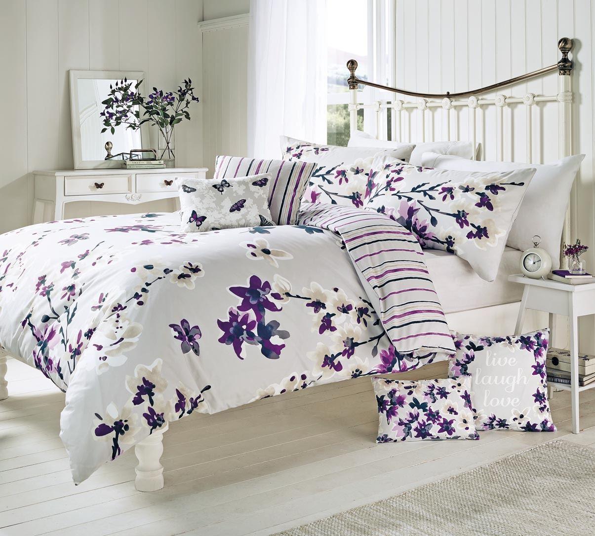 sakura floral duvet cover quilt set mauve purple single double  - a superior printed duvet cover set with a unique floral pattern designedand made by dreams n drapes single quilt set includes a pillowcase whiledouble