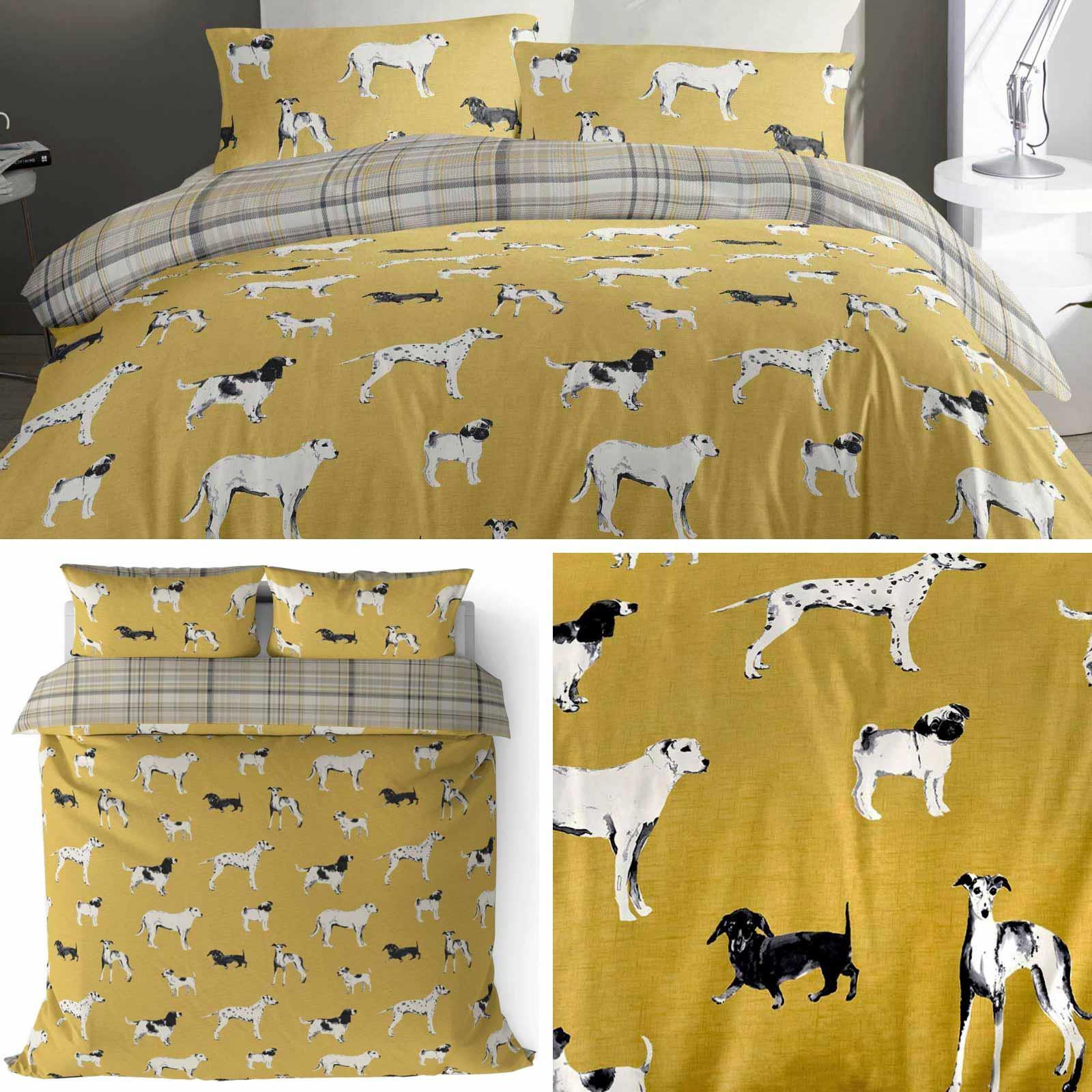 Details zu Ochre Duvet Covers Dogs Tartan Reversible Animal Print Quilt  Cover Bedding Sets