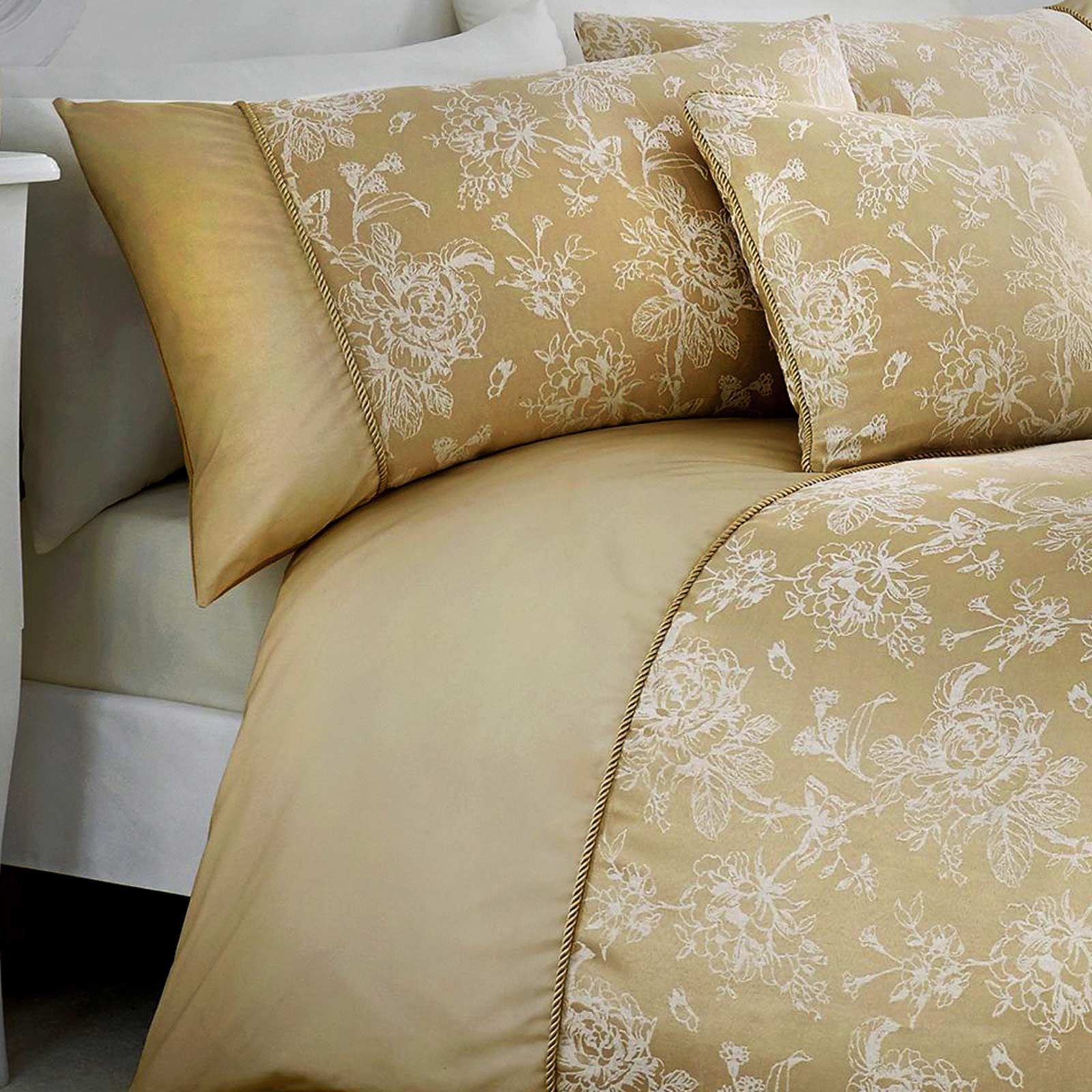 Oro-fundas-nordicas-Jasmine-floral-del-damasco-Edredon-Conjuntos-de-Lujo-Coleccion-de-ropa-de-cama miniatura 4