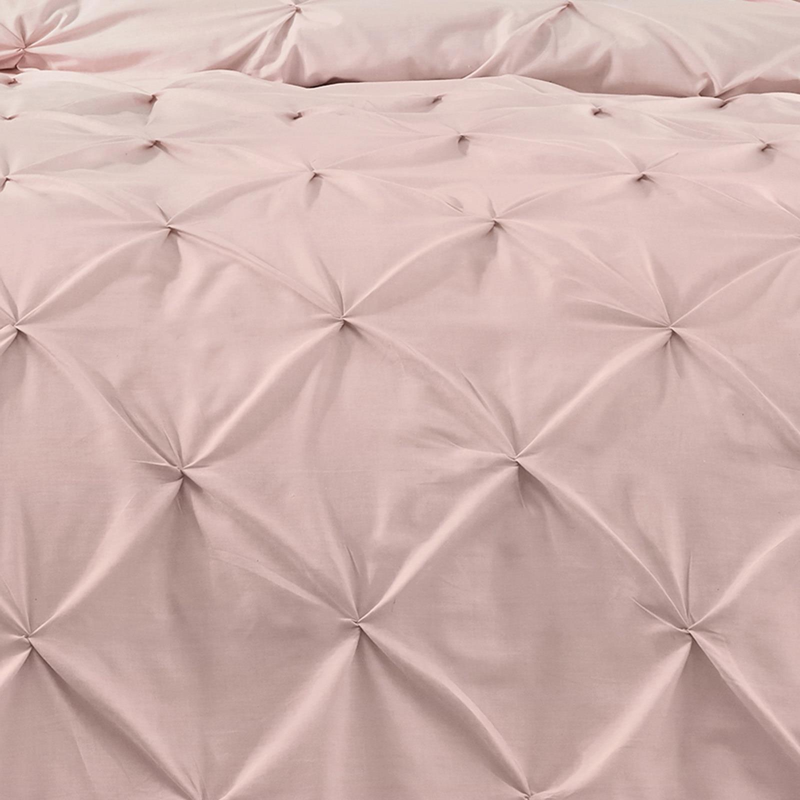 Blush-Duvet-Covers-Ruched-Pin-Tuck-Stitched-Plain-Pink-Quilt-Cover-Bedding-Sets thumbnail 3
