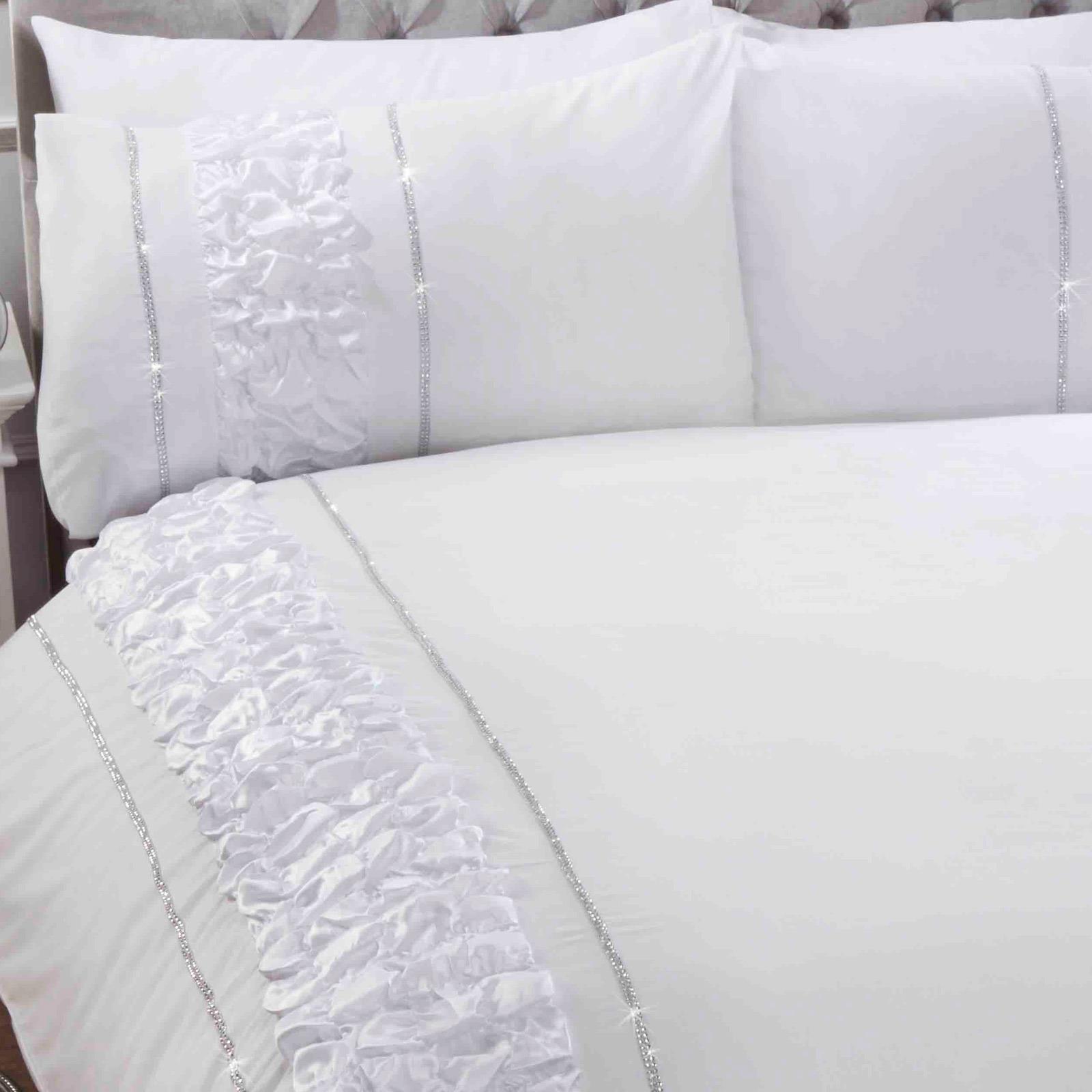 Blanco-Fundas-nordicas-Provence-Sparkle-Bling-Diamante-cubierta-del-edredon-conjuntos-de-cama miniatura 7