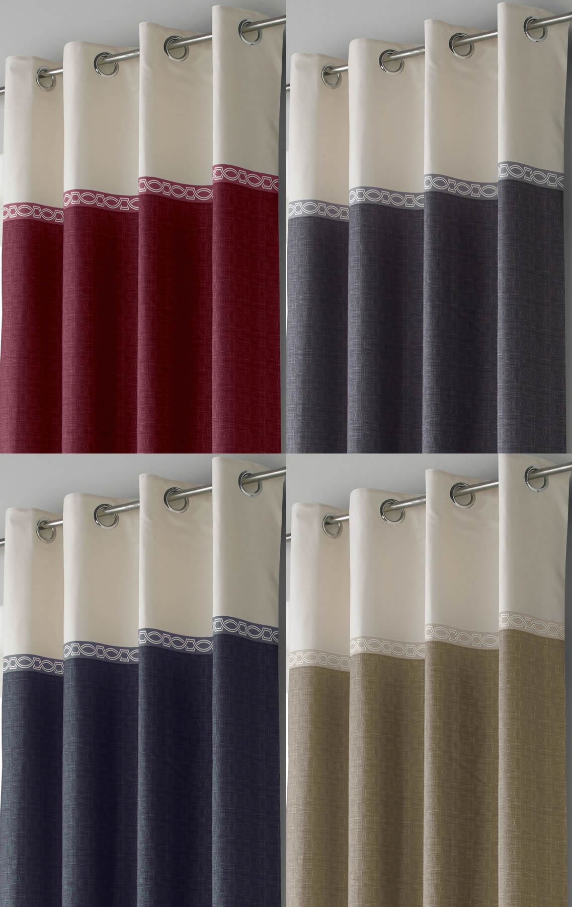 toronto lined eyelet curtains ready made ring top pairs beige blue grey red ebay. Black Bedroom Furniture Sets. Home Design Ideas
