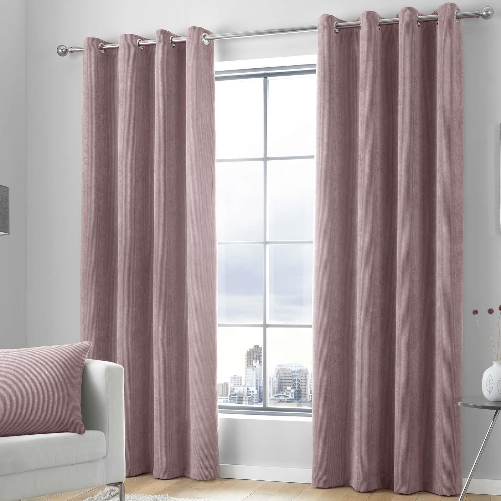 Pink Eyelet Curtains Blush Plain Cord Chenille Ready Made Lined Ring Top Pairs