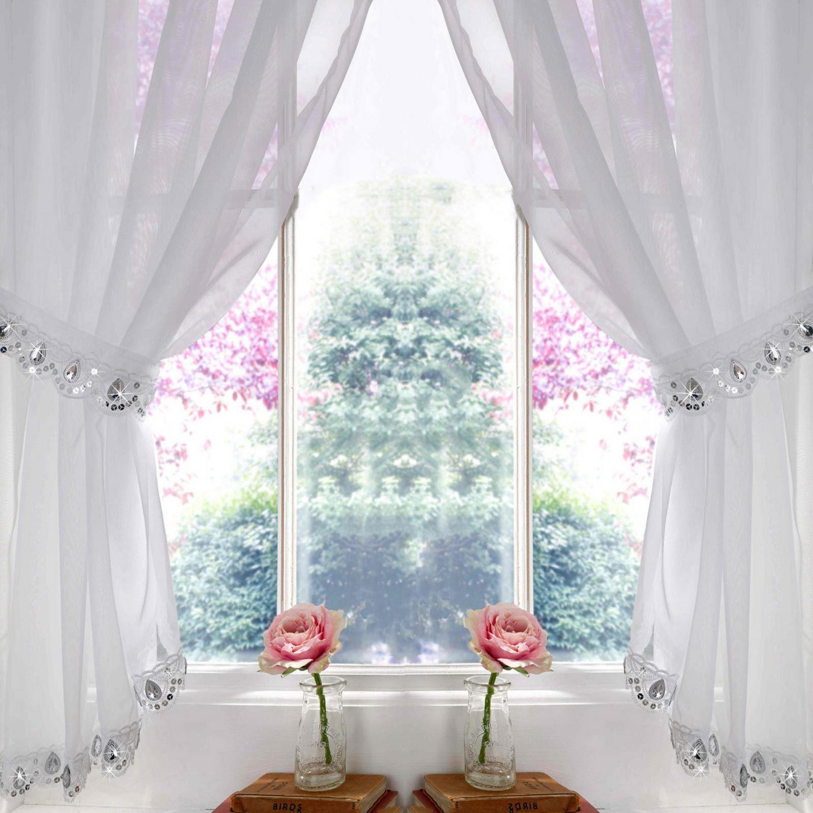 Ready-Made Curtain Panels White Voile Curtain Ruffle Trim Various Widths