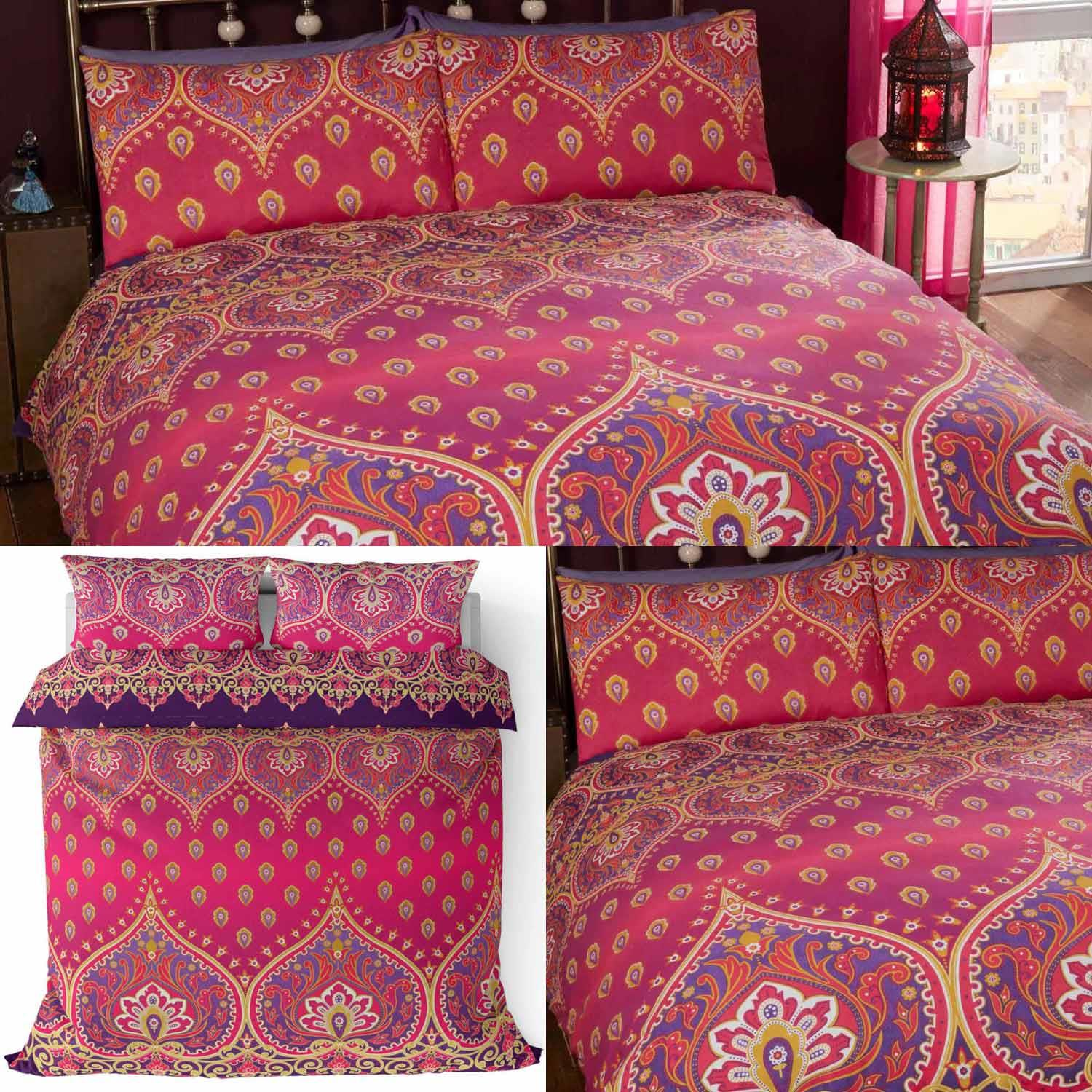 Red Duvet Covers Ruby Asha Bright Indian Asian Printed Quilt Cover Bedding Sets