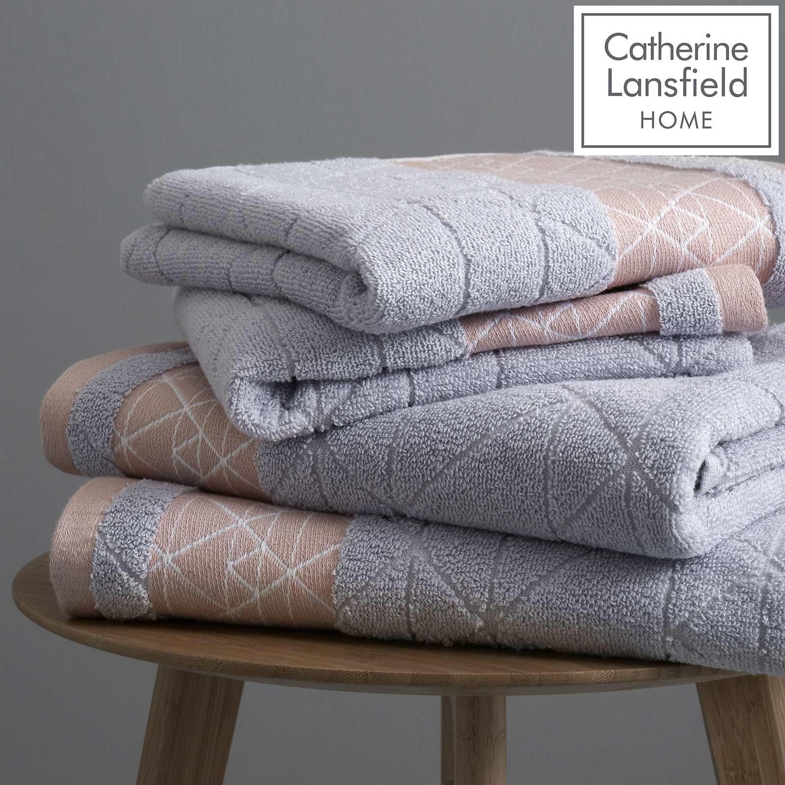 Catherine Lansfield Linear Diamond Towels Blush Pink Grey Bathroom Towel Sets Ebay