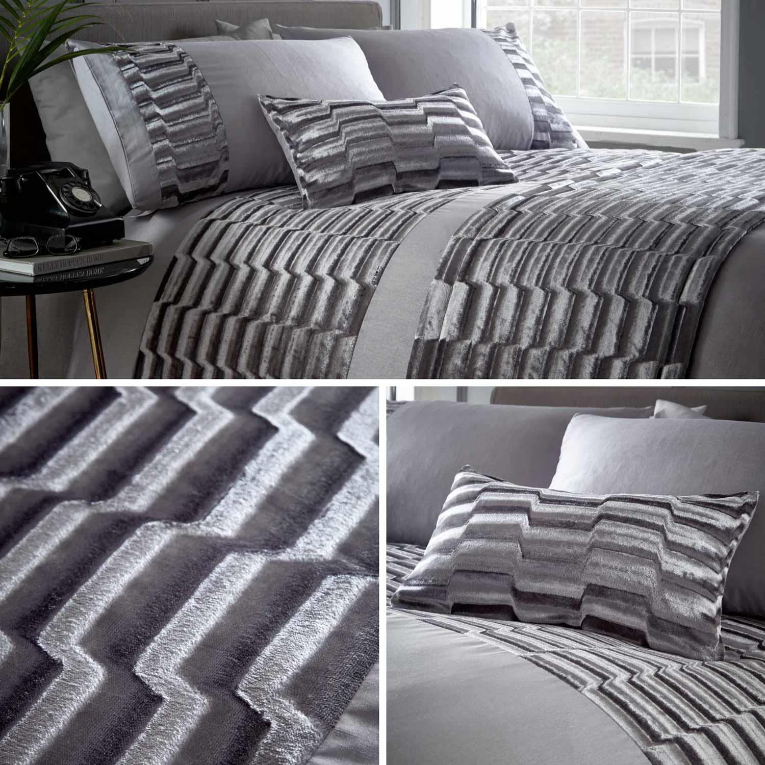 Murray Luxury Crushed Velvet Panel Duvet Quilt Cover Bedding Bed Set Stone Grey
