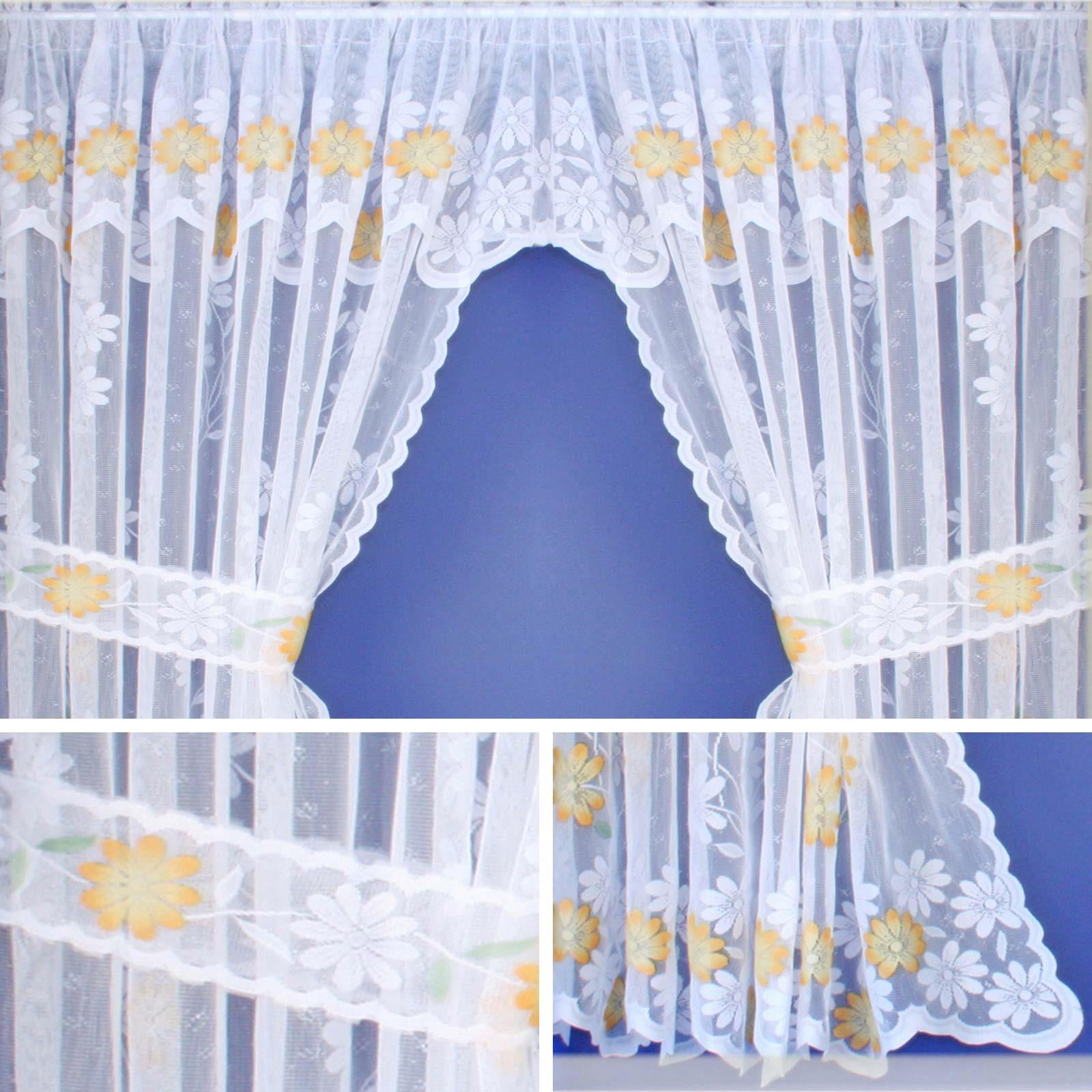 Home Furniture Diy Curtains Pelmets Lace Curtain Sets White Kew Complete Kitchen Window Floral Ready Made Curtains Bortexgroup Com