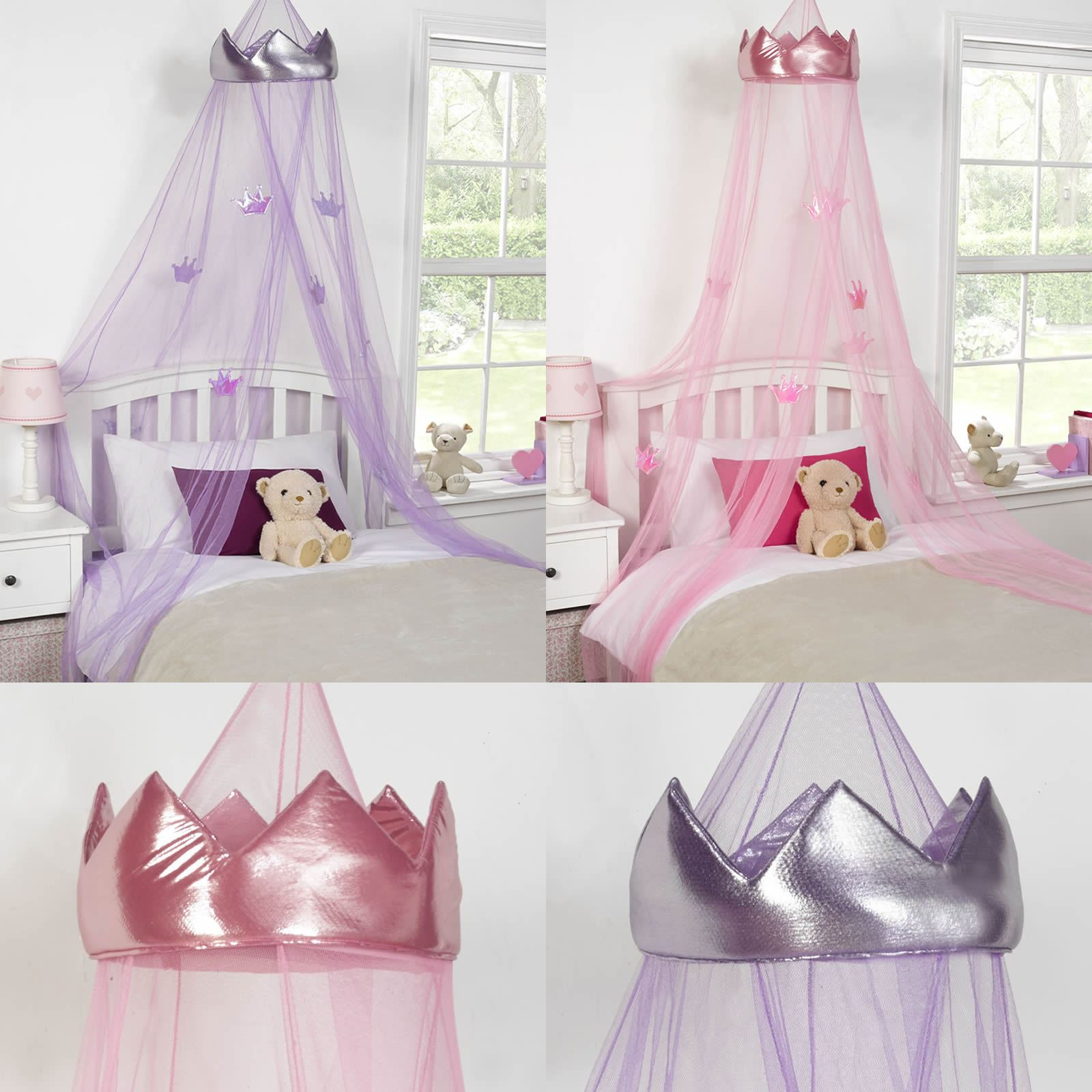 KIDS CHILDRENS GIRLS PRINCESS CROWN BED CANOPY INSECT MOSQUITO NET PINK PURPLE & Princess Bed Canopy | eBay