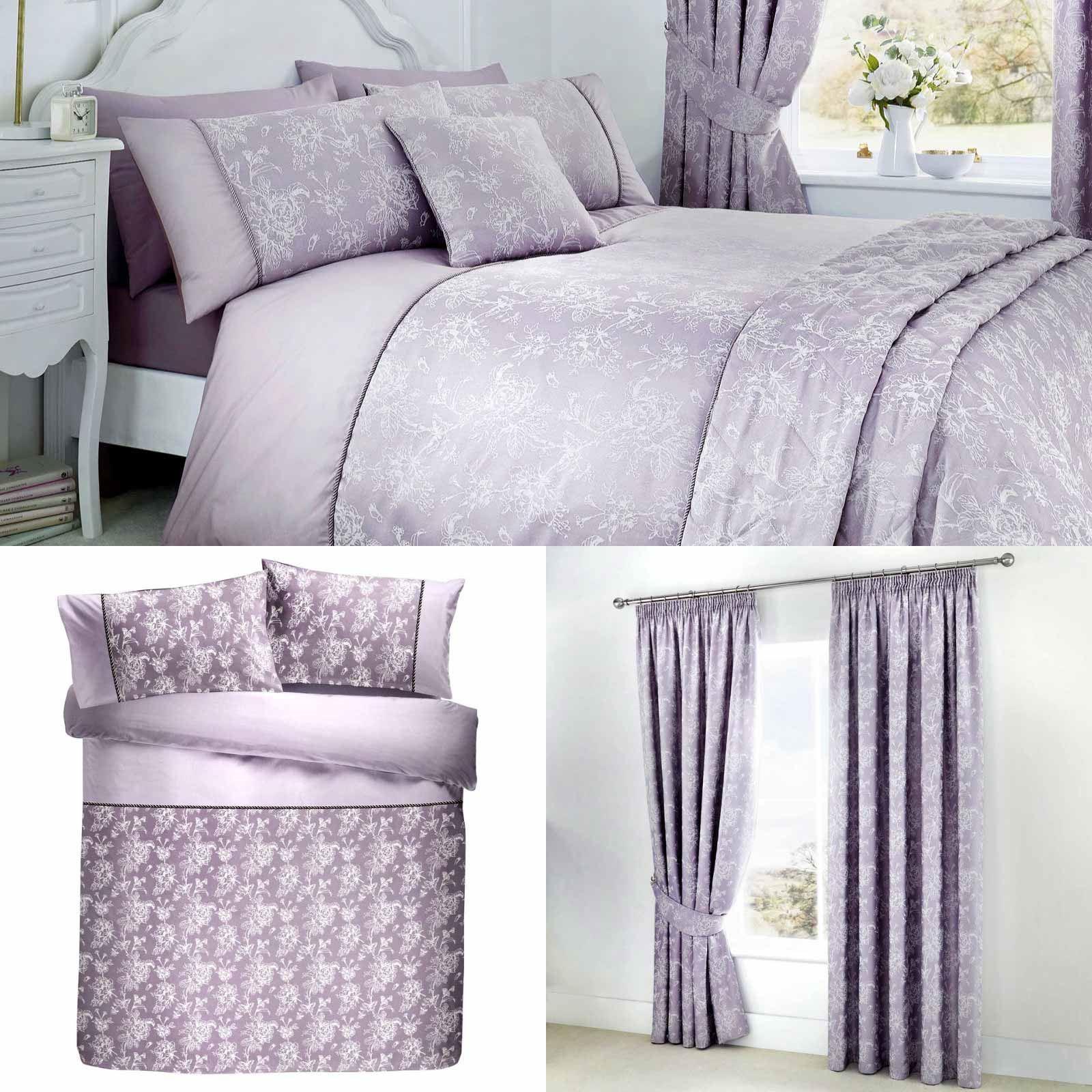 Purple Duvet Covers Floral Jacquard Damask Lavender Quilt Cover Bedding Sets Ebay