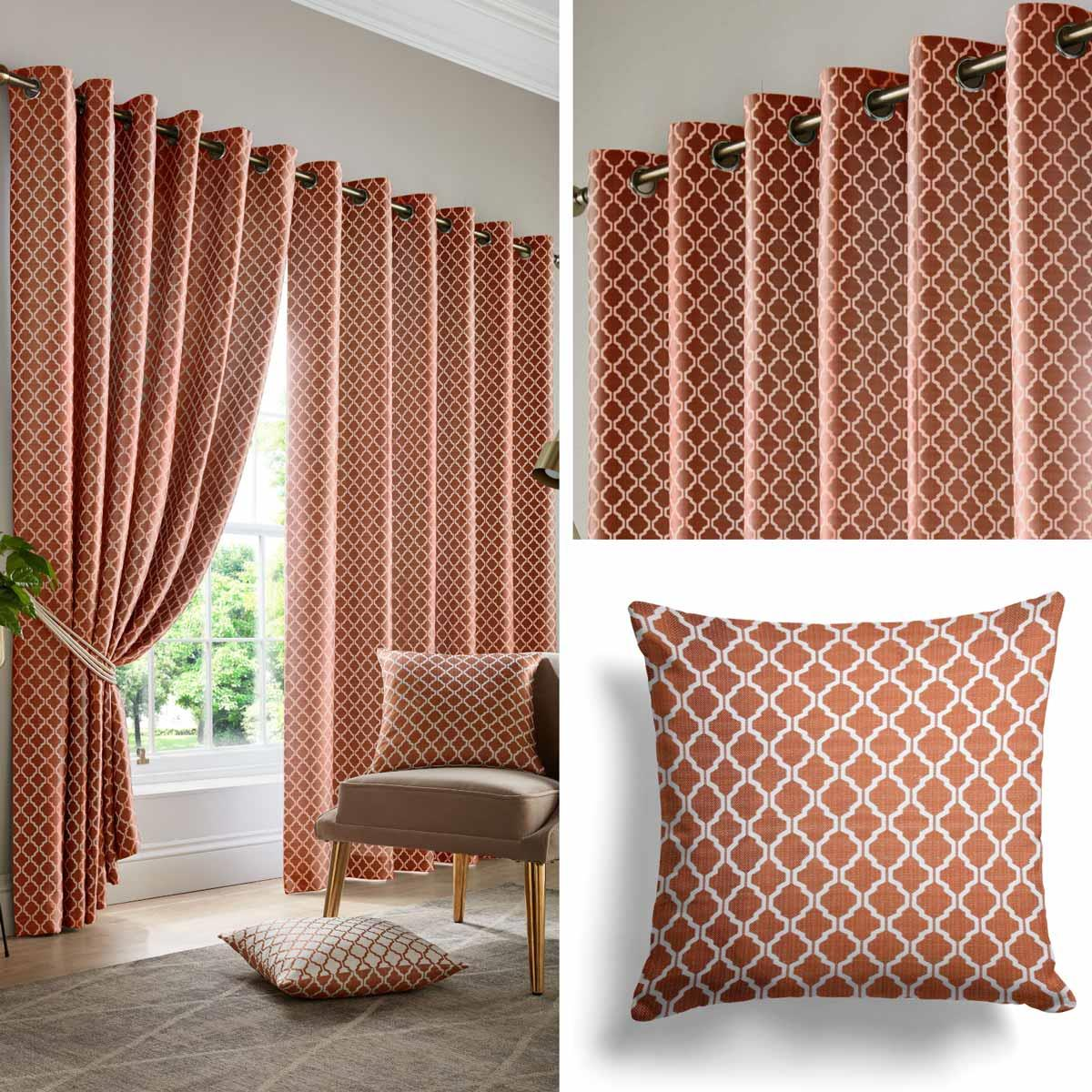 Orange Eyelet Curtains Lined Geometric Jacquard Ready Made