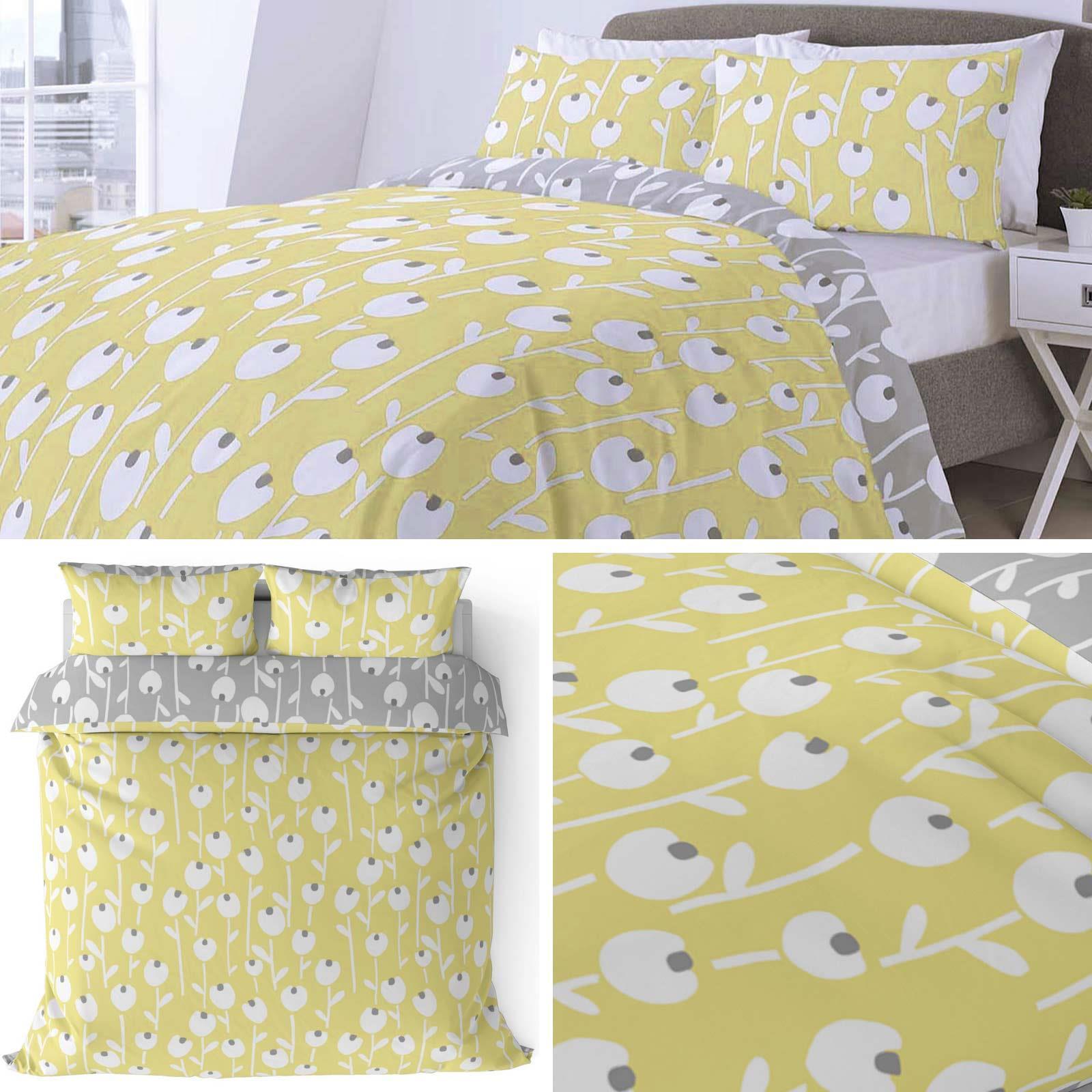 Ochre-Duvet-Covers-Scandi-Retro-Floral-Yellow-Reversible-Quilt-Cover-Bedding-Set
