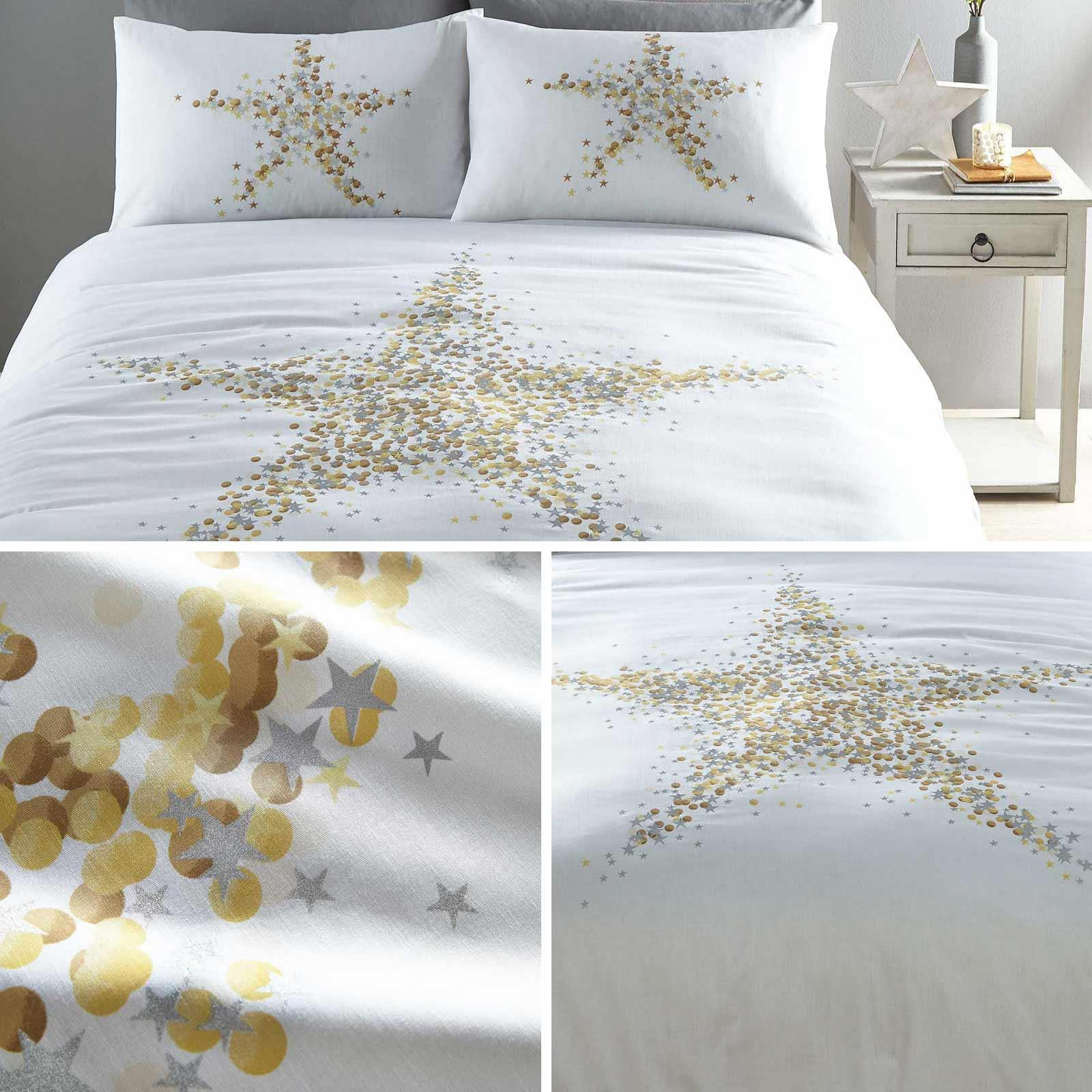 Gold Duvet Covers Star Metallic Sparkle Stars White Quilt Cover Bedding Sets Ebay