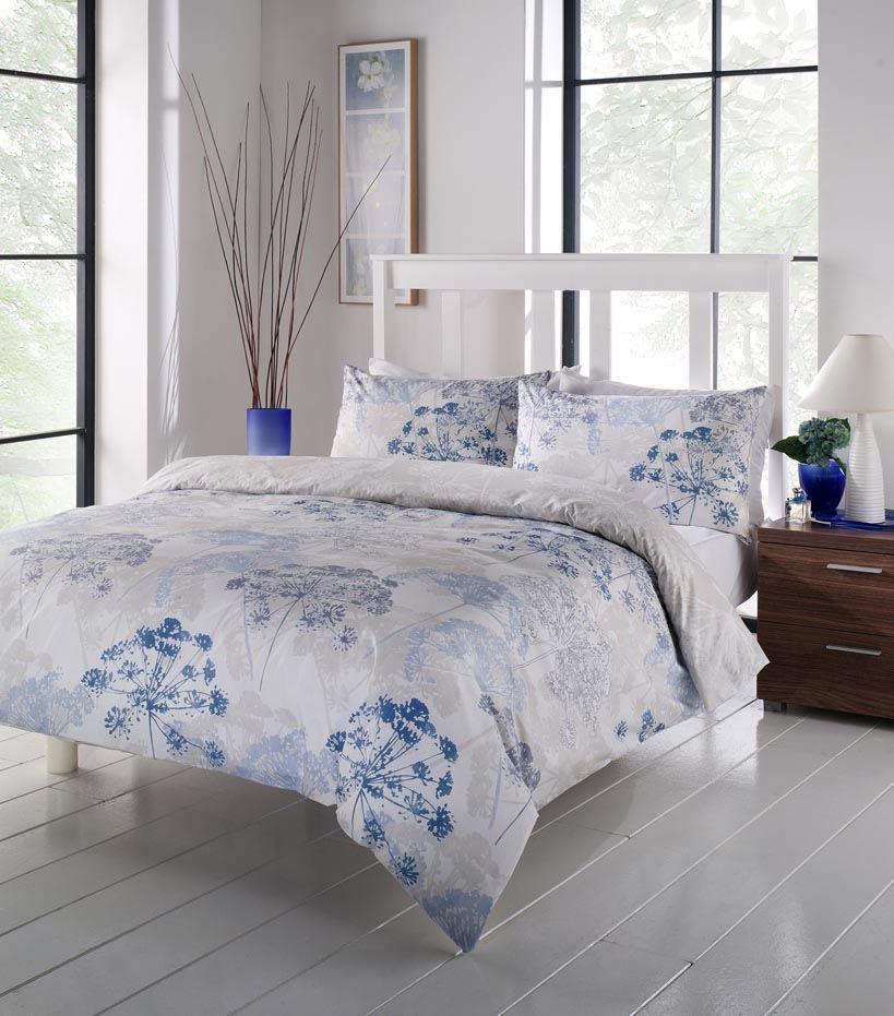chervil floral dandelion duvet cover quilt set blue white single double king ebay. Black Bedroom Furniture Sets. Home Design Ideas