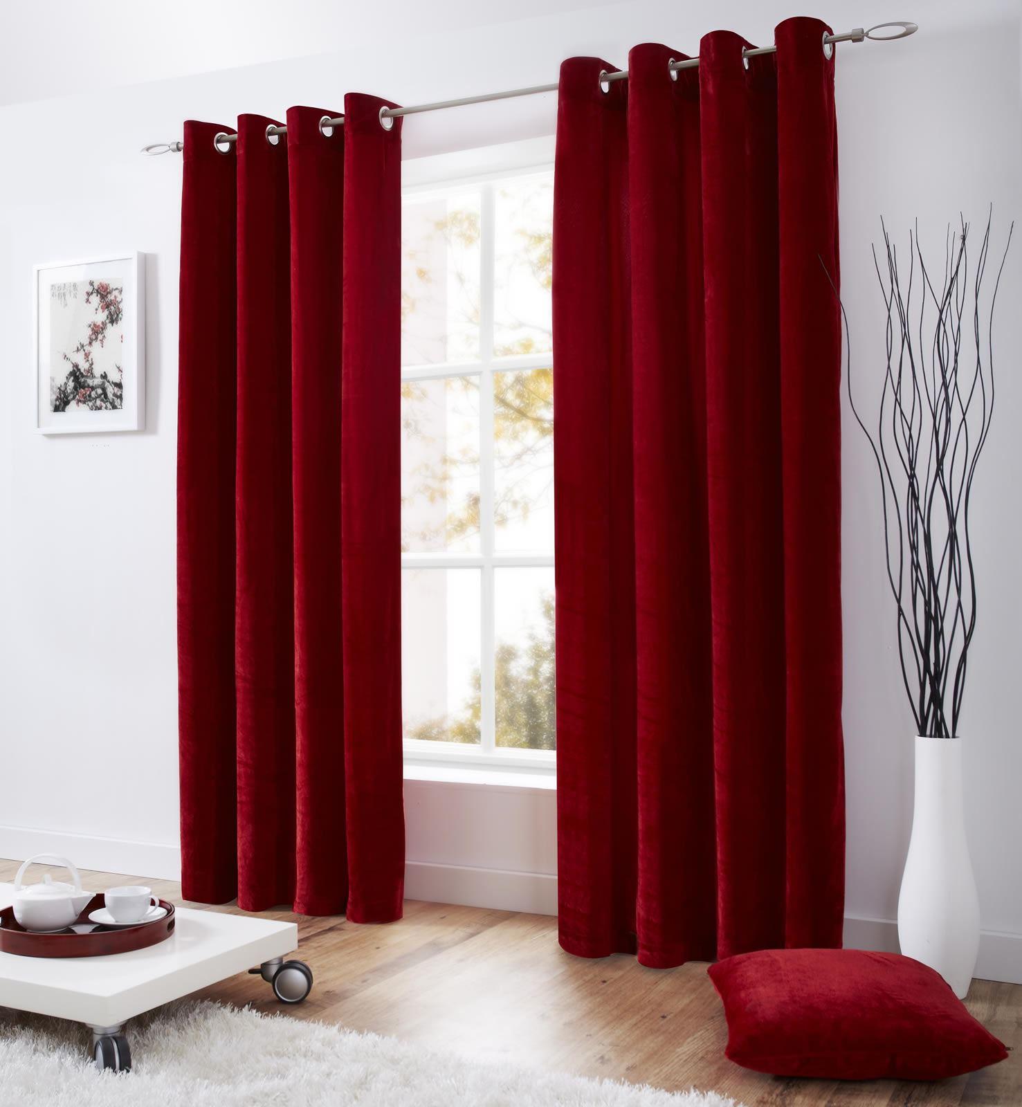 Velvet Eyelet Lined Curtains Ready Made Ringtop Curtain