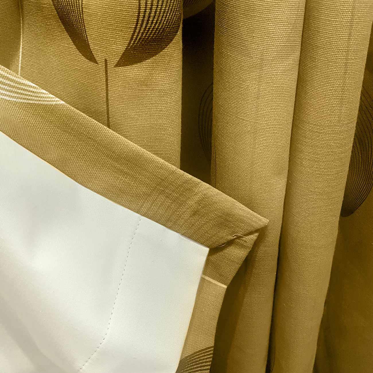 Cortina-con-Ojales-de-mostaza-pares-Amarillo-Ocre-Anillo-Top-Forrado-Listo-Cortinas miniatura 31