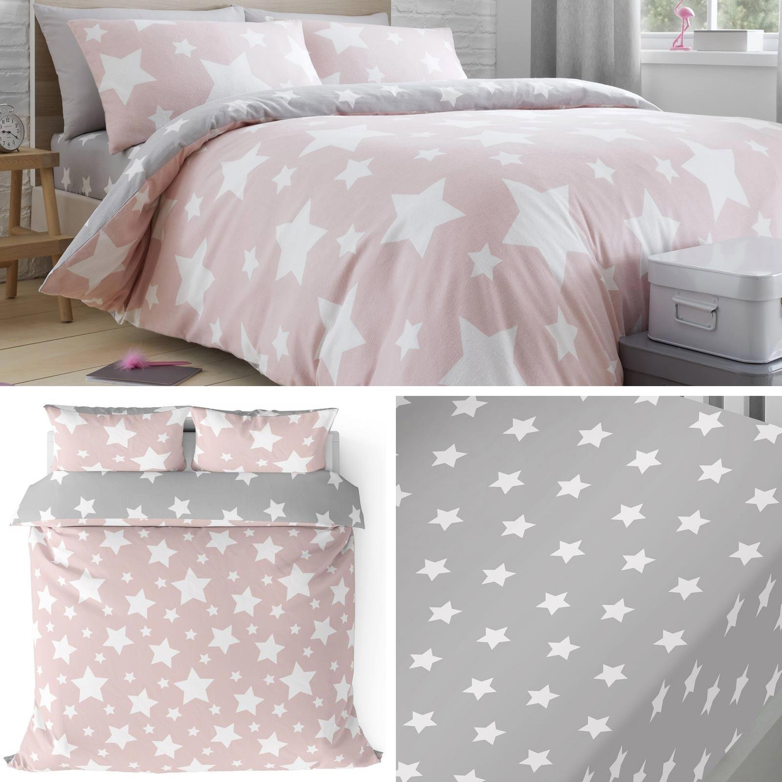 Pink Duvet Covers Flannelette 100 Brushed Cotton Stars Quilt