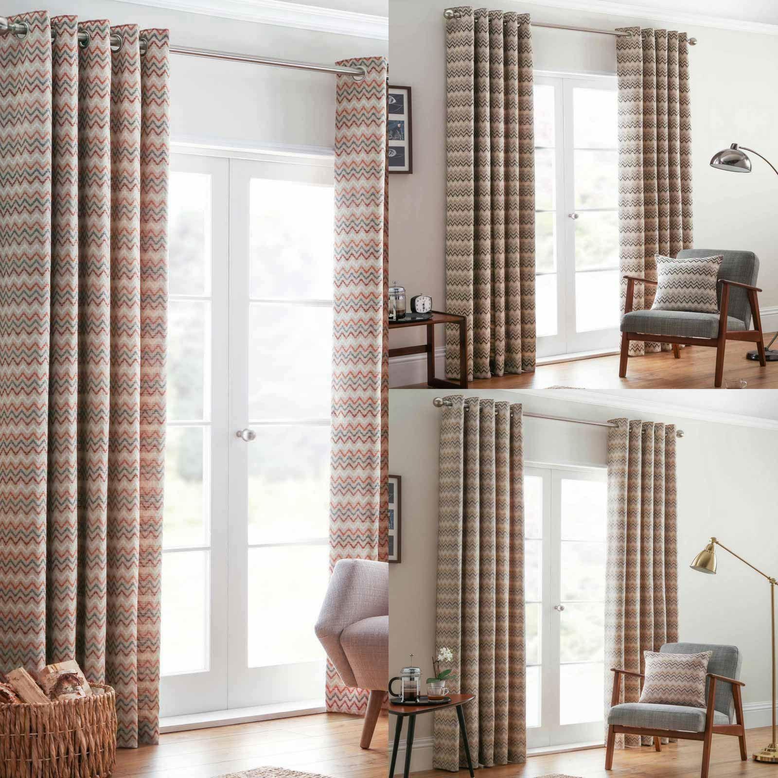 Rio Lined Eyelet Curtains Ready Made Zig Zag Chevron Stripe Curtain Pairs Ebay