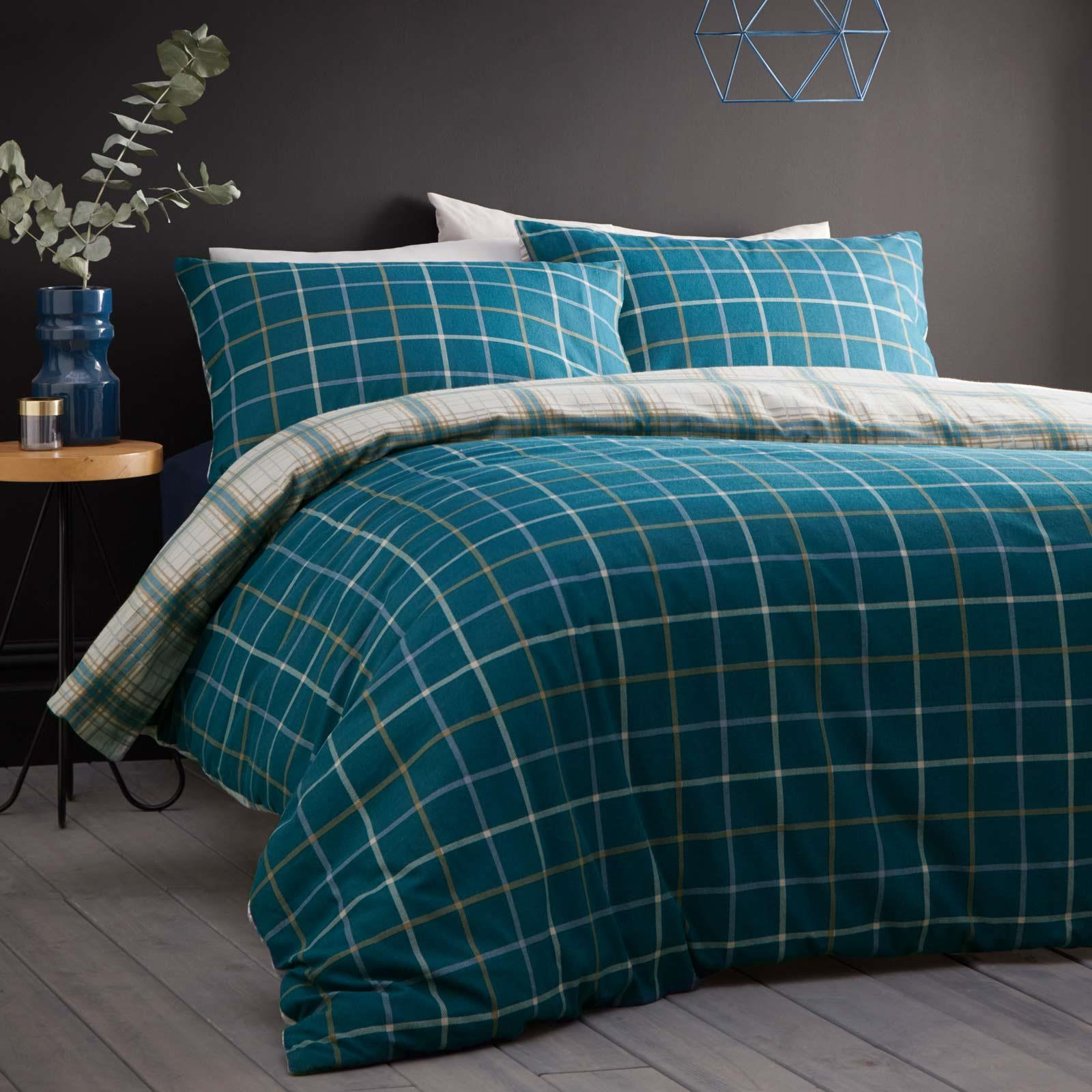 Teal Duvet Covers Checked Flannelette Brushed Cotton Quilt Cover Bedding Sets Ebay