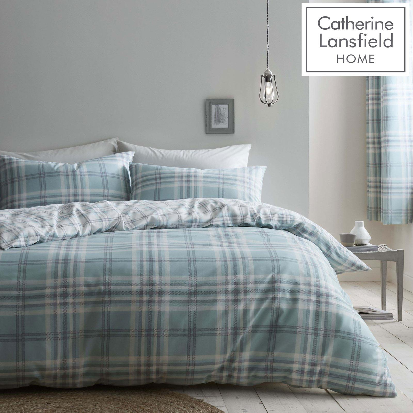Catherine Lansfield Kelso Mint Duvet Covers Tartan Checked Quilt Bedding Sets Ebay
