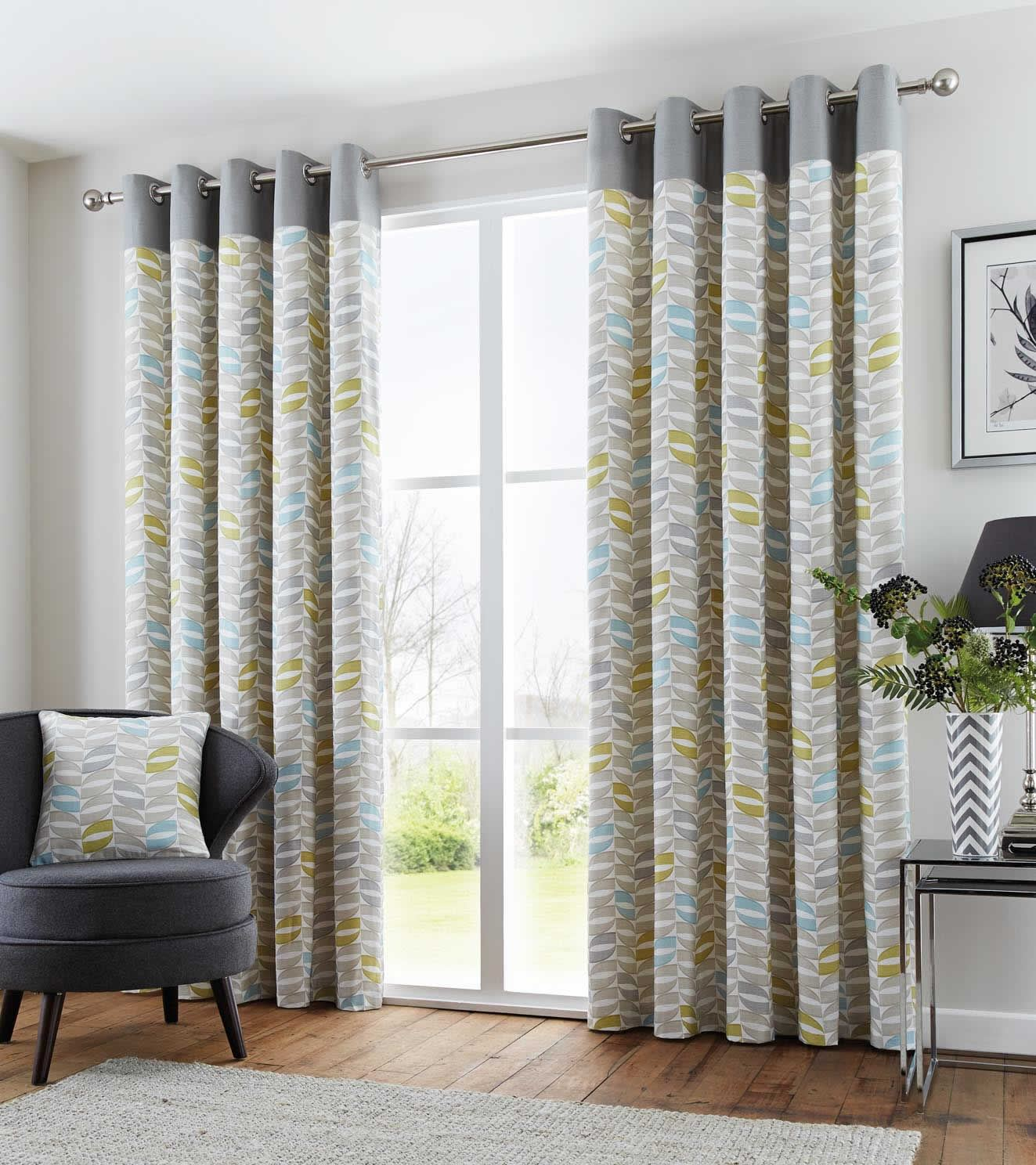 copeland geometric retro lined eyelet curtains ready made. Black Bedroom Furniture Sets. Home Design Ideas