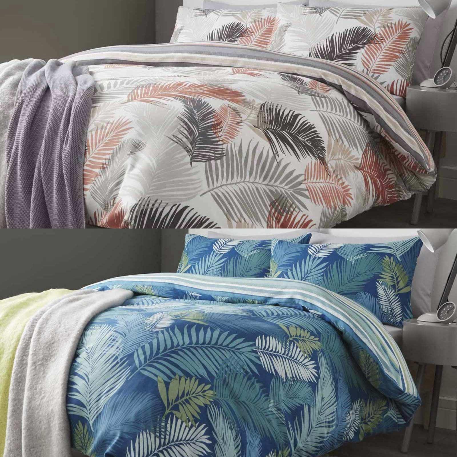 Tropical duvet covers modern palm leaf jungle cotton