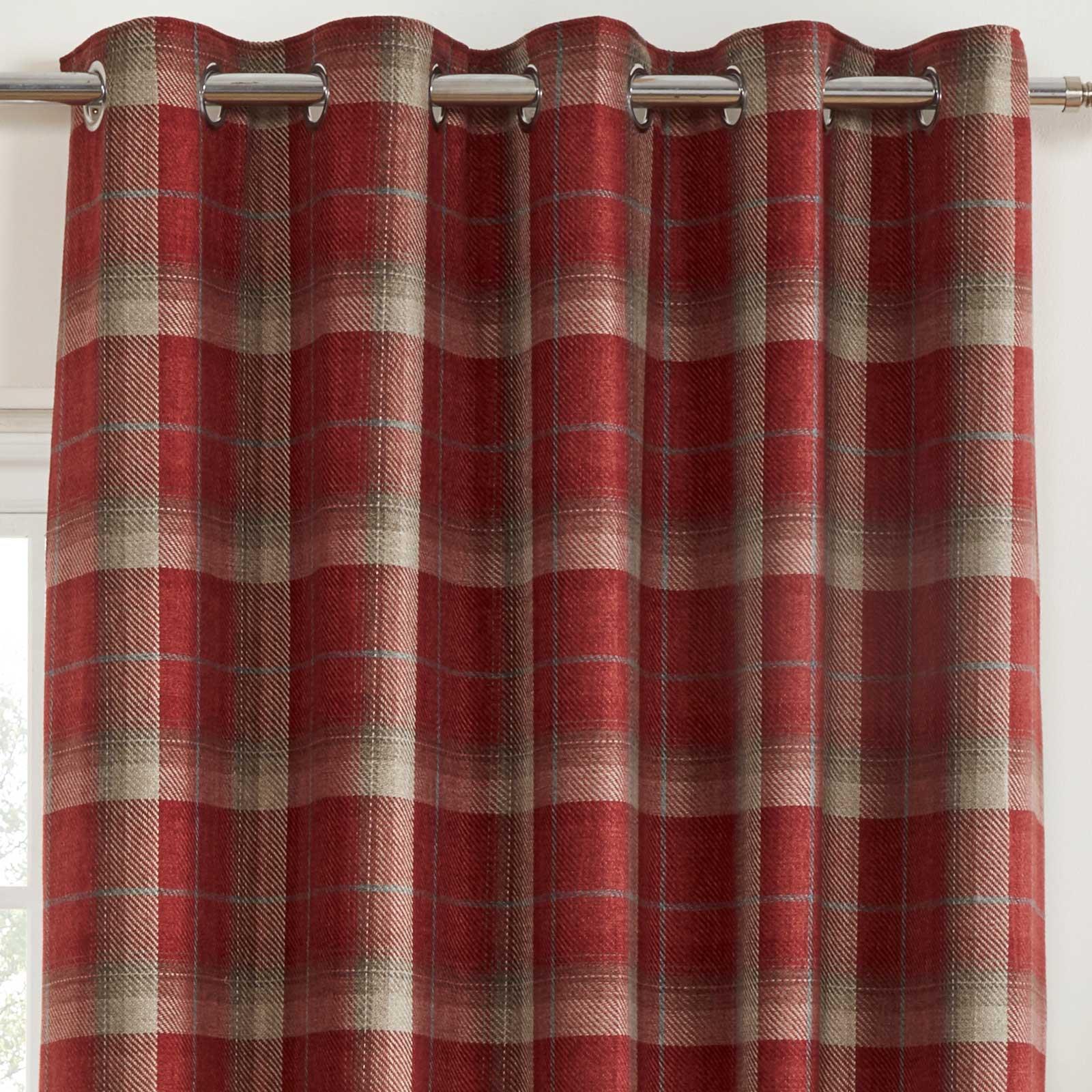 Cortinas-DE-ORIFICIOS-Rojo-Blackout-Tartan-Check-Ready-Made-acogedor-Anillo-Superior-Cortina-Pares miniatura 11