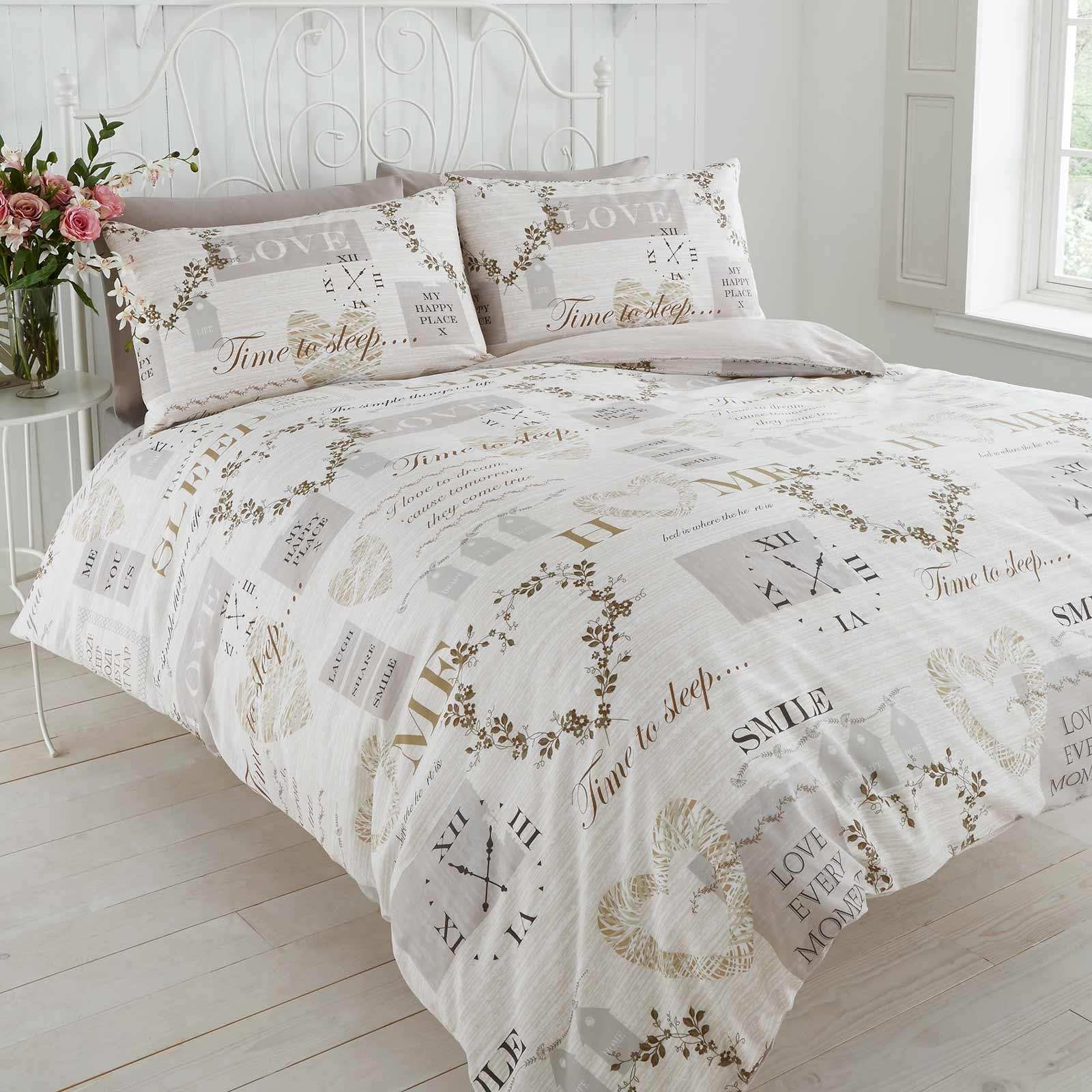 Cream Duvet Covers Vintage Hearts Sleep Love Quotes Quilt Cover Bedding Sets Ebay