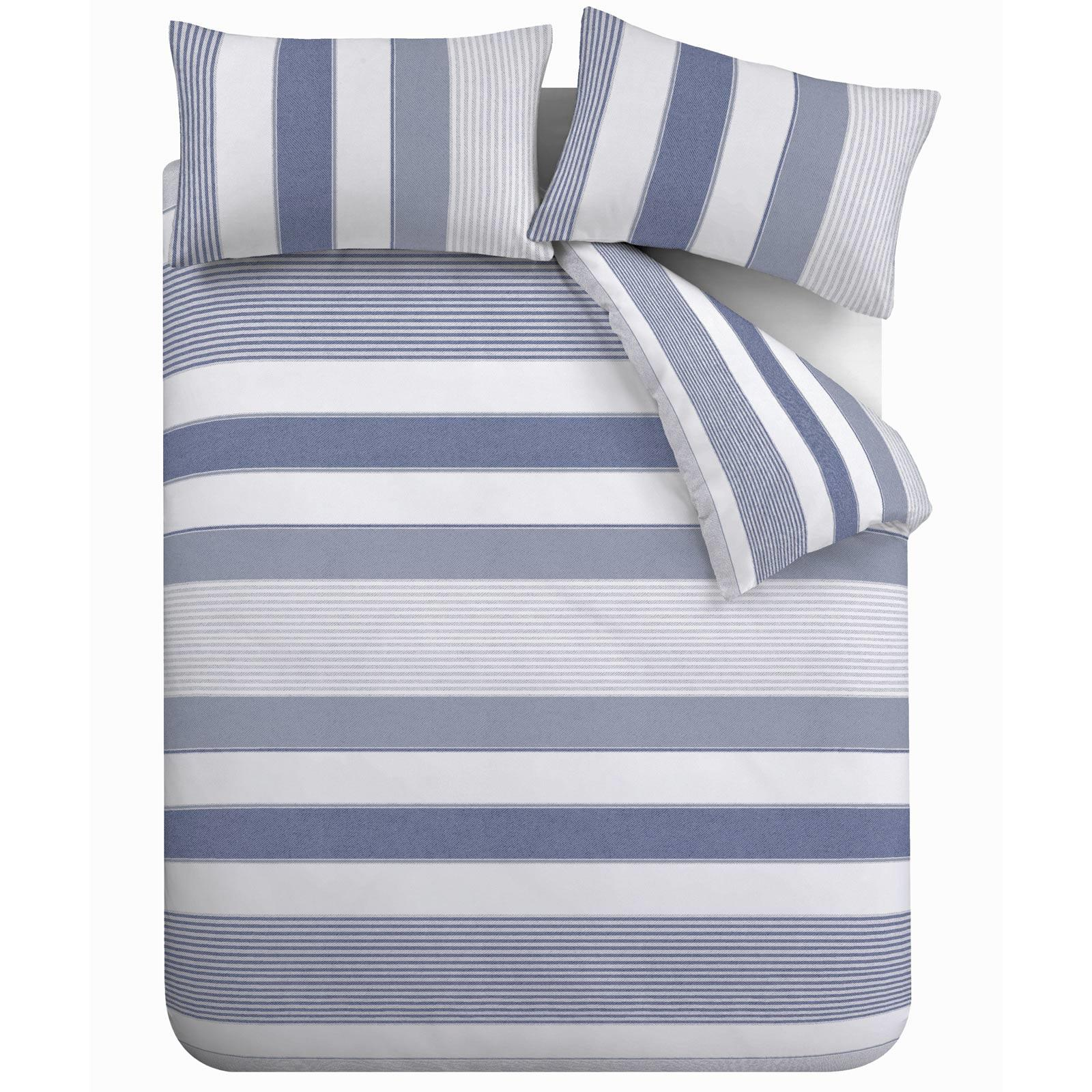 miniatuur 21 - Catherine Lansfield Newquay Stripe Blue Duvet Covers Quilt Cover Bedding Sets