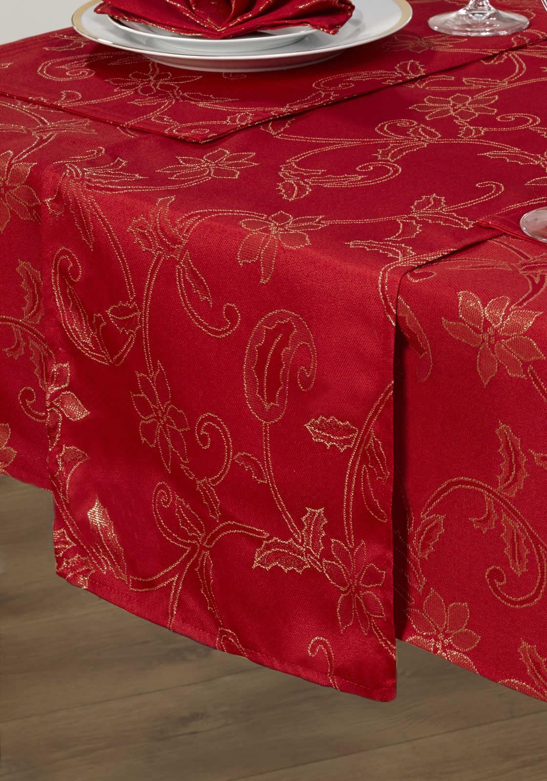 14 Piece Christmas Table Linen Set Cloth Napkins Runner