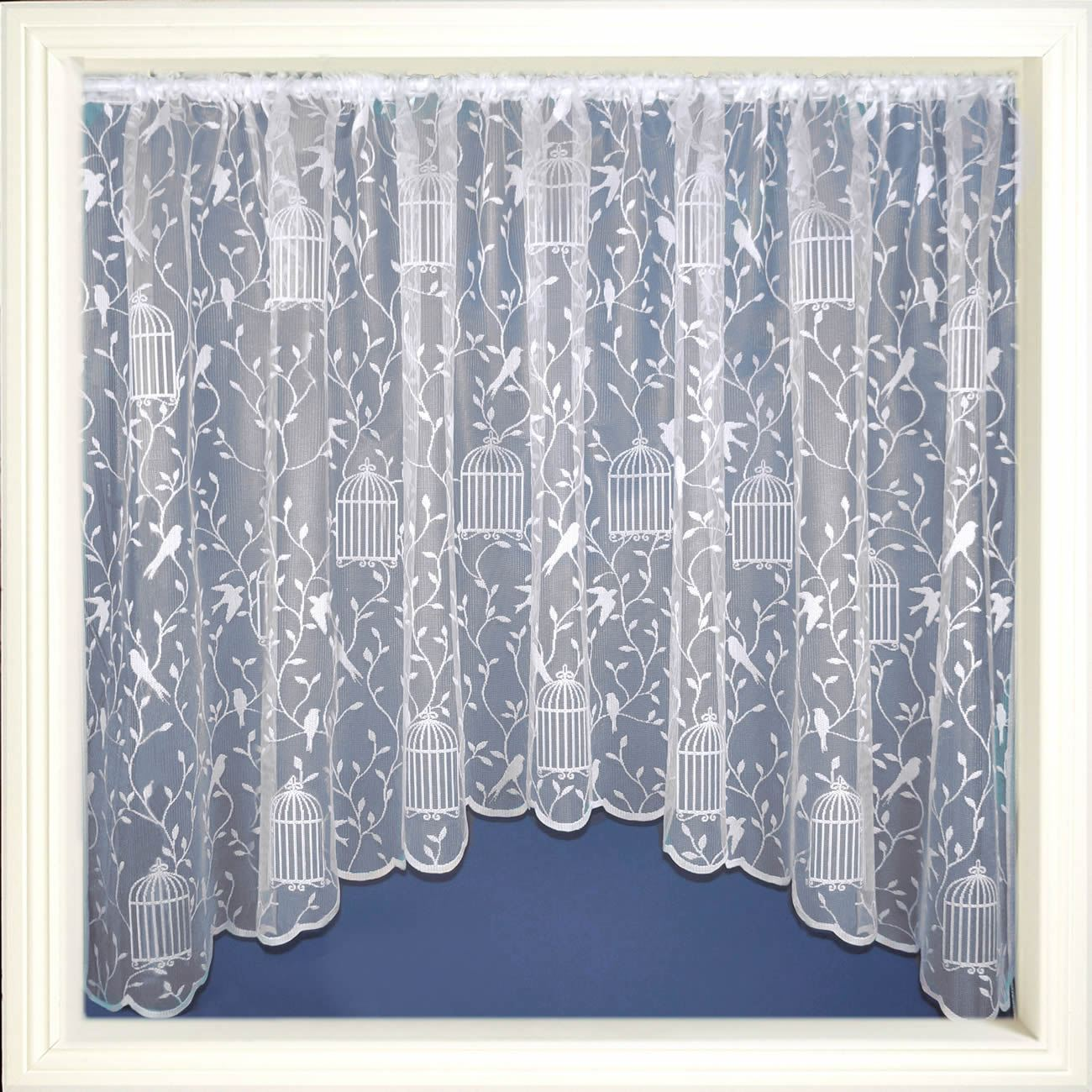 Luxury Net Curtain Jardiniere Ready Made White Lace