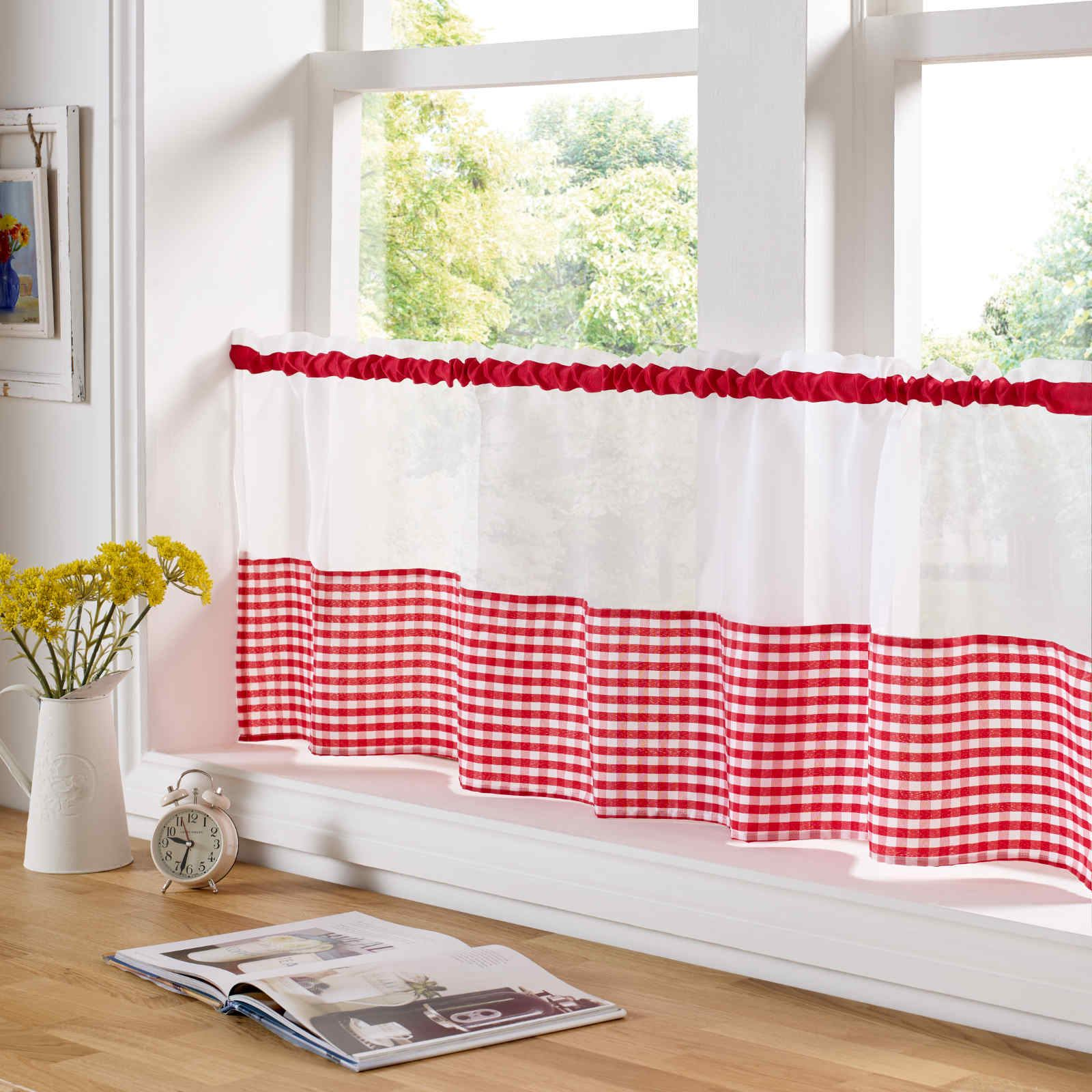 COUNTRY STYLE KITCHEN GINGHAM CURTAIN PAIR WINDOW DRAPES DINING ROOM