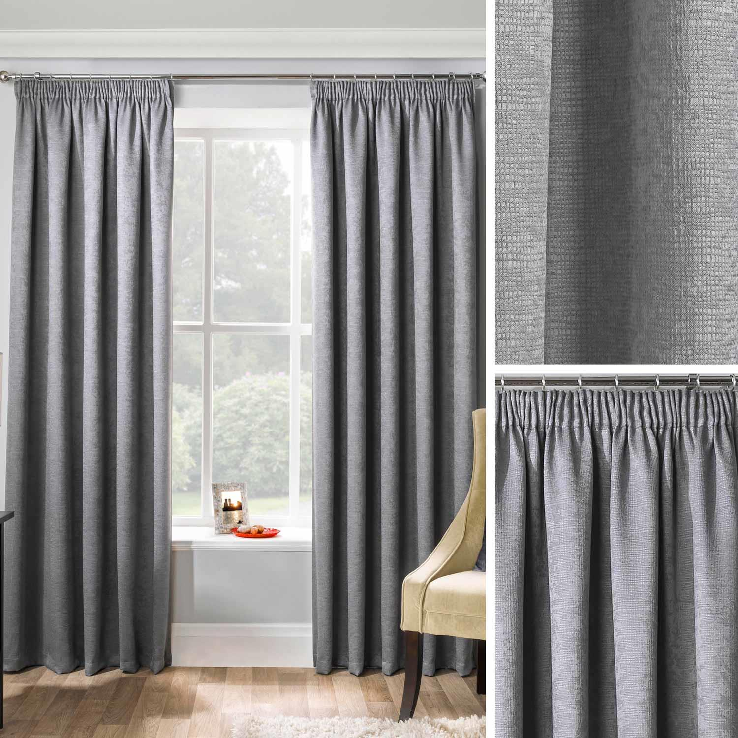 Tape Top Pencil Pleat Thermal BLACKOUT Plain Curtains to Block Sunlight