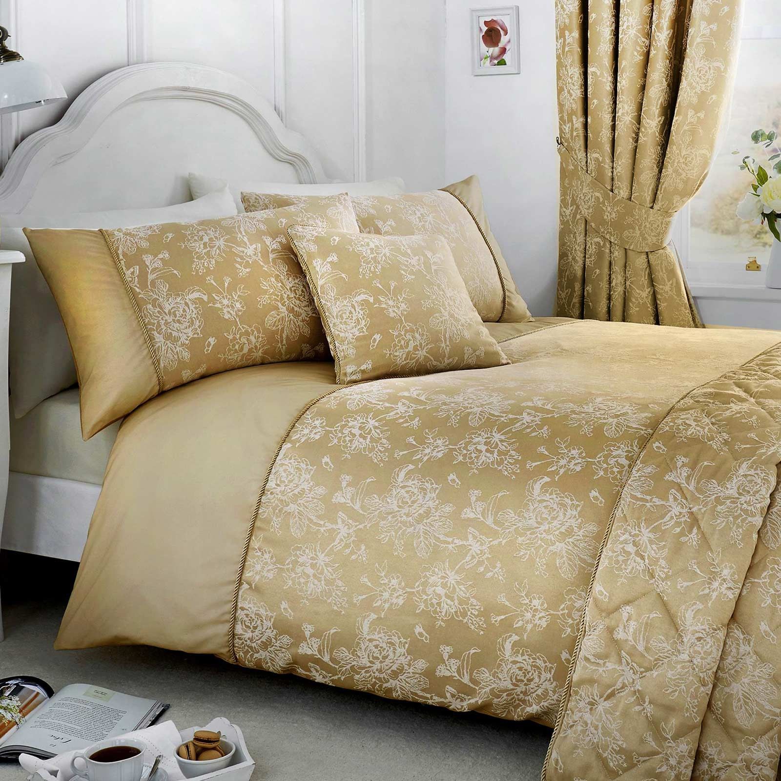Gold Duvet Covers Floral Jacquard Damask Champagne Quilt Cover Bedding Sets Ebay