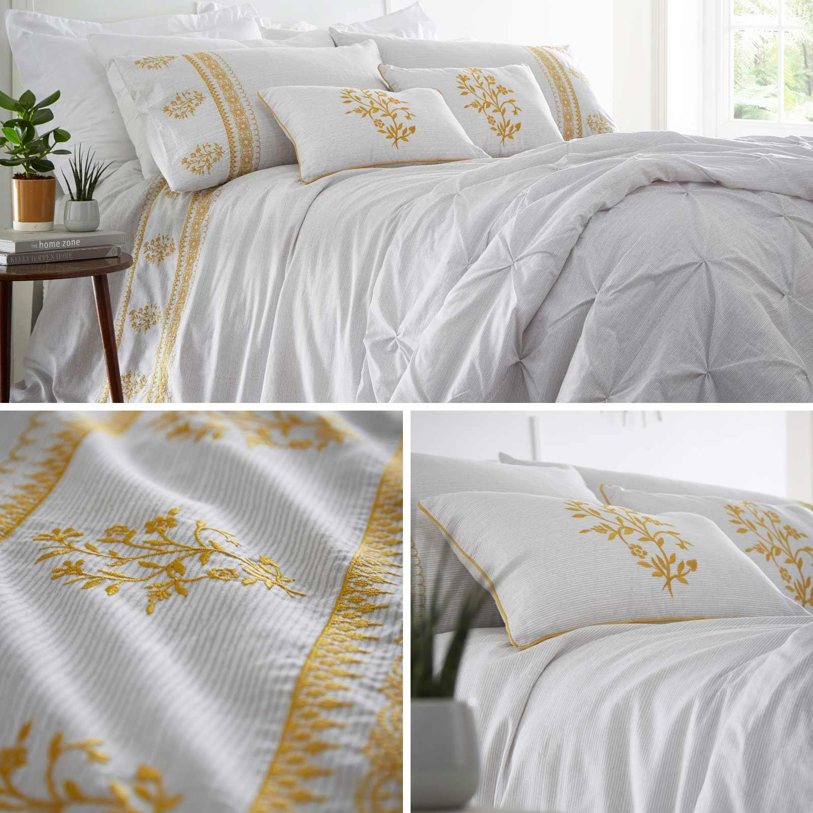 Ochre Duvet Covers Floral Embroidered Bohemian Grey Quilt Cover Bedding Sets Ebay