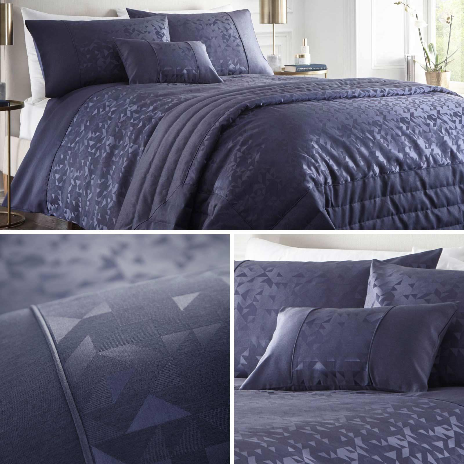 LUCIEN NAVY BEDDING OR THROW OVER OR BOUDOIR BLUE TRIANGLE GEOMETRIC JACQUARD