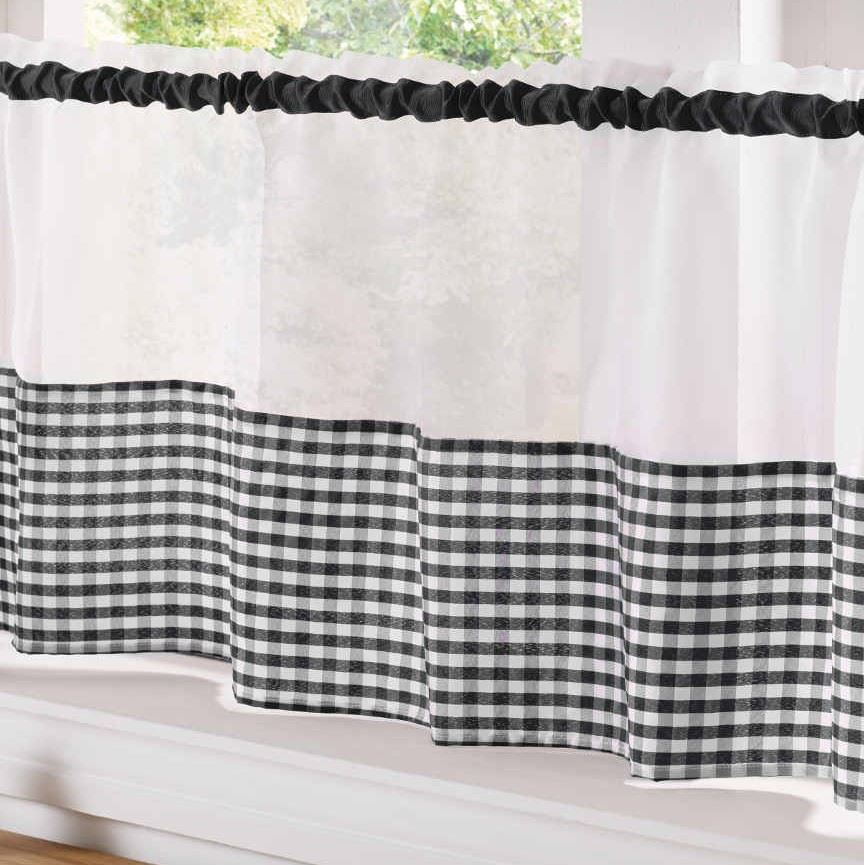 Curtain Style For Kitchen: COUNTRY STYLE KITCHEN GINGHAM CURTAIN PAIR WINDOW DRAPES DINING ROOM