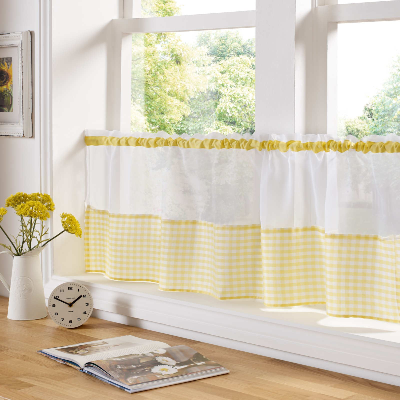 Country Dining Room Curtains: COUNTRY STYLE KITCHEN GINGHAM CURTAIN PAIR WINDOW DRAPES