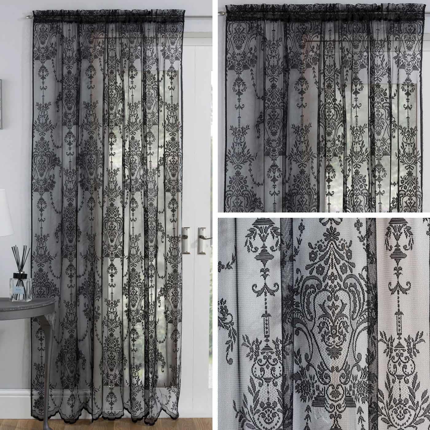 Black Voile Curtain Lace Damask Vintage Slot Panels Rod Pocket Sheer Voiles Ebay