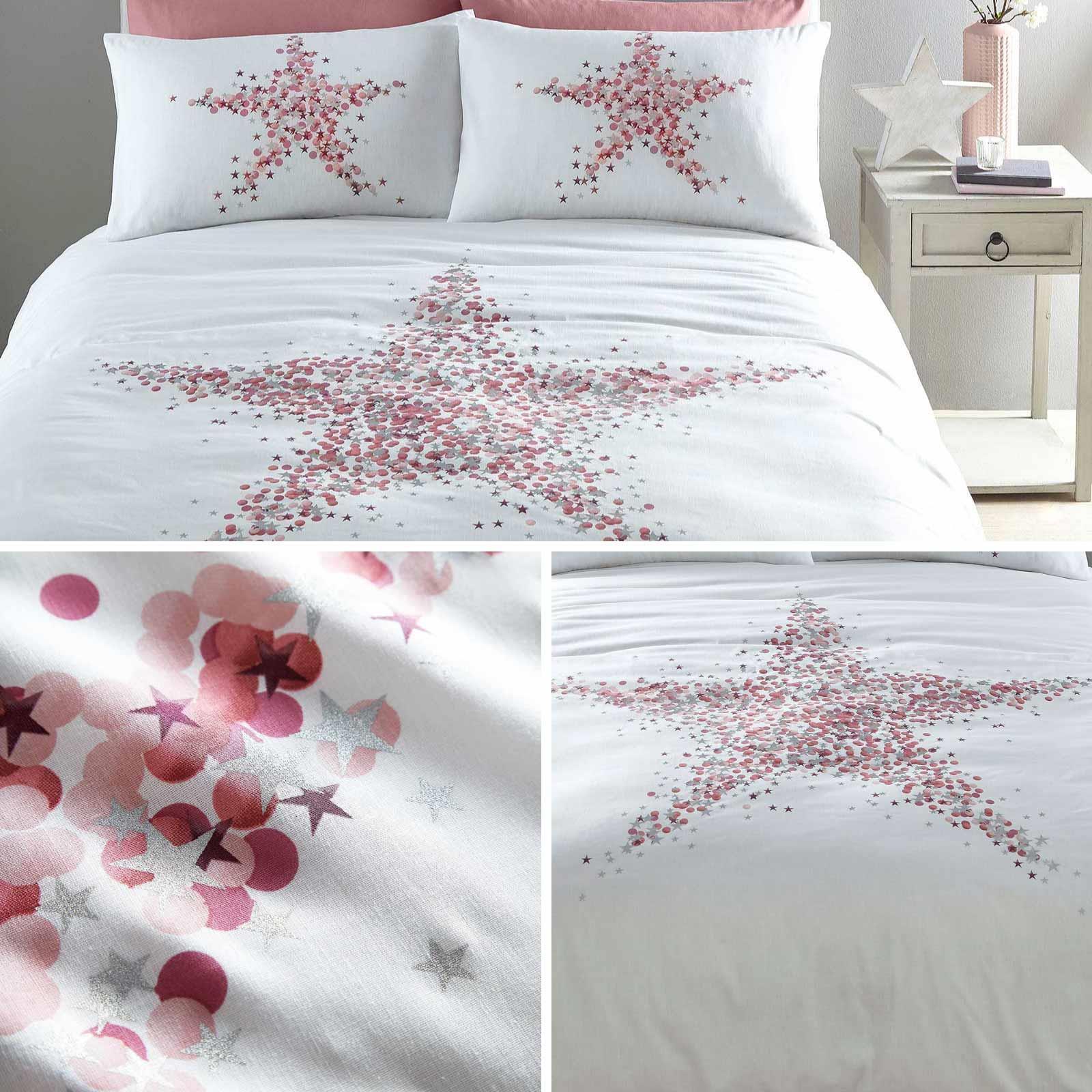Pink Duvet Covers Star Metallic Sparkle Stars White Quilt Cover Bedding Sets Ebay