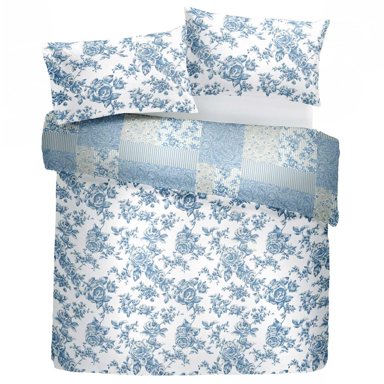 Fundas-de-edredon-azul-con-motivos-florales-Patchwork-Toile-pais-Edredon-Cubierta-de-Lujo-sistemas miniatura 5