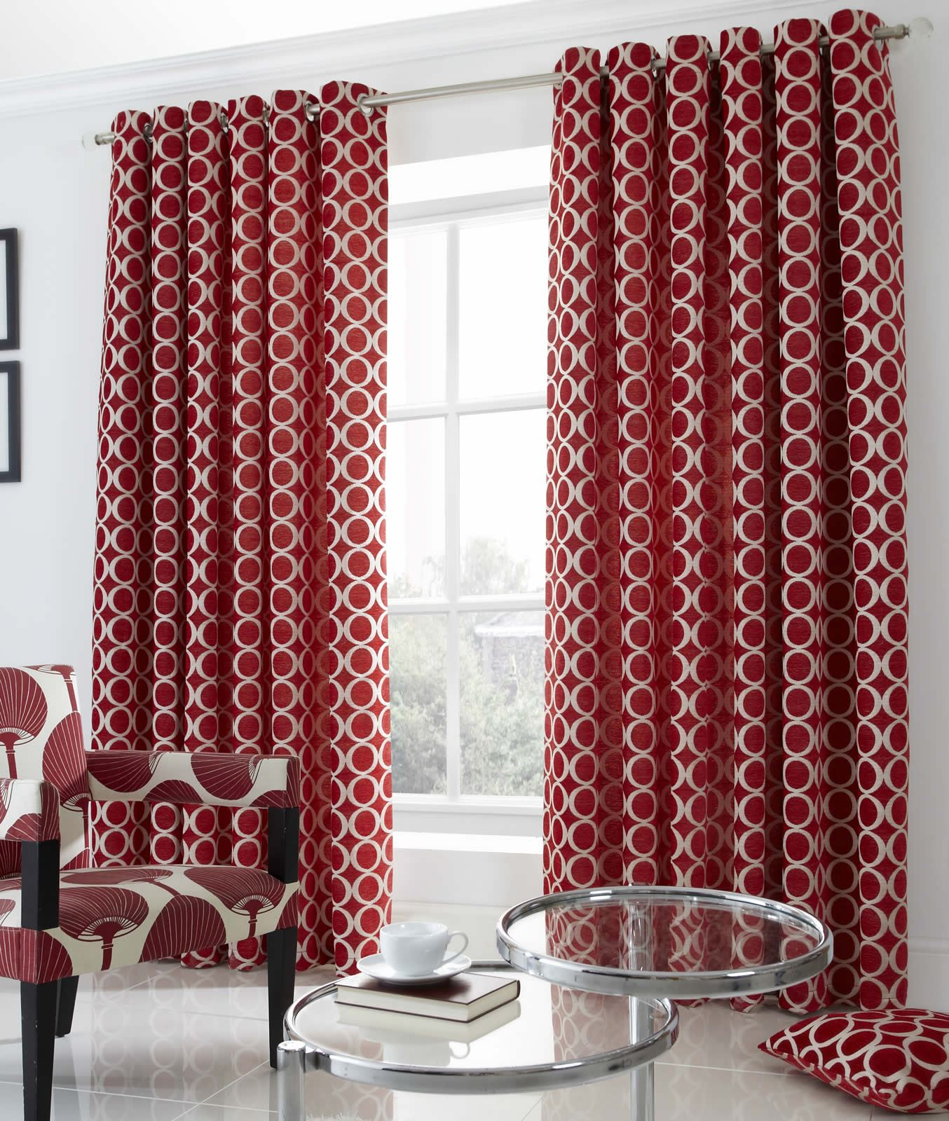 Oh Heavy Weight Chenille Lined Eyelet Curtains Modern
