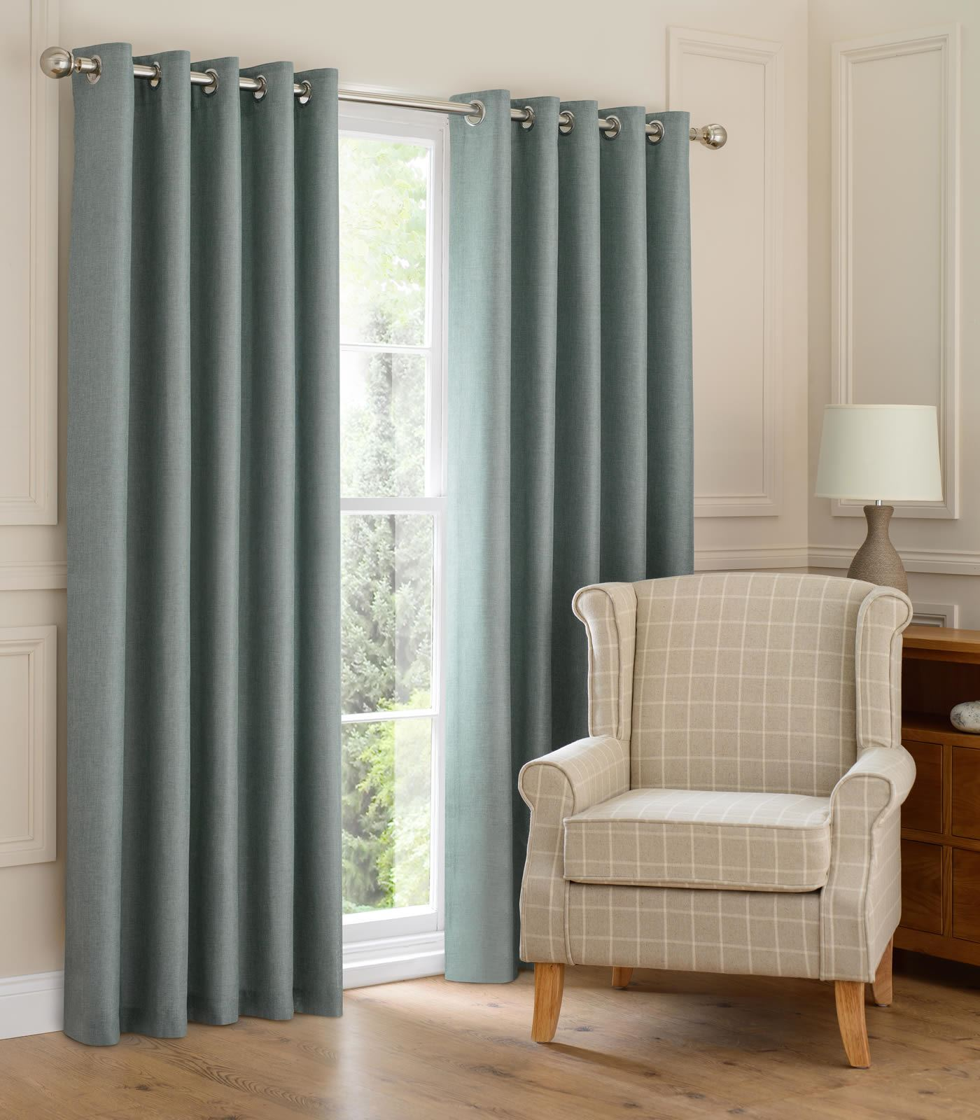 MONTANA LINED EYELET CURTAINS READY MADE RING TOP