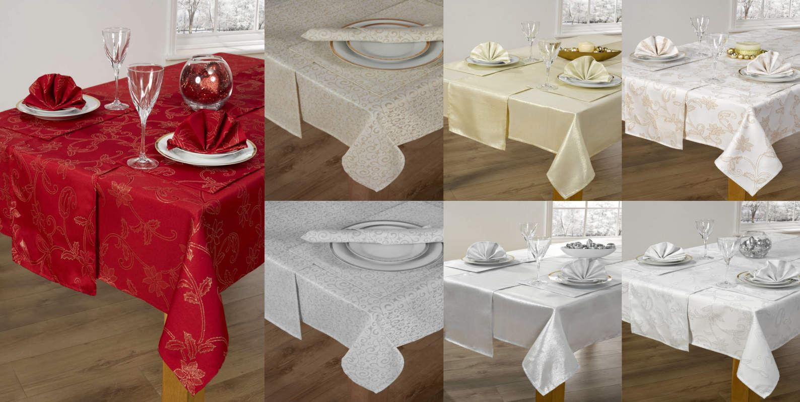 f171571394 14 Piece Christmas Table Linen Set Cloth Napkins Runner Placemats 52 ...