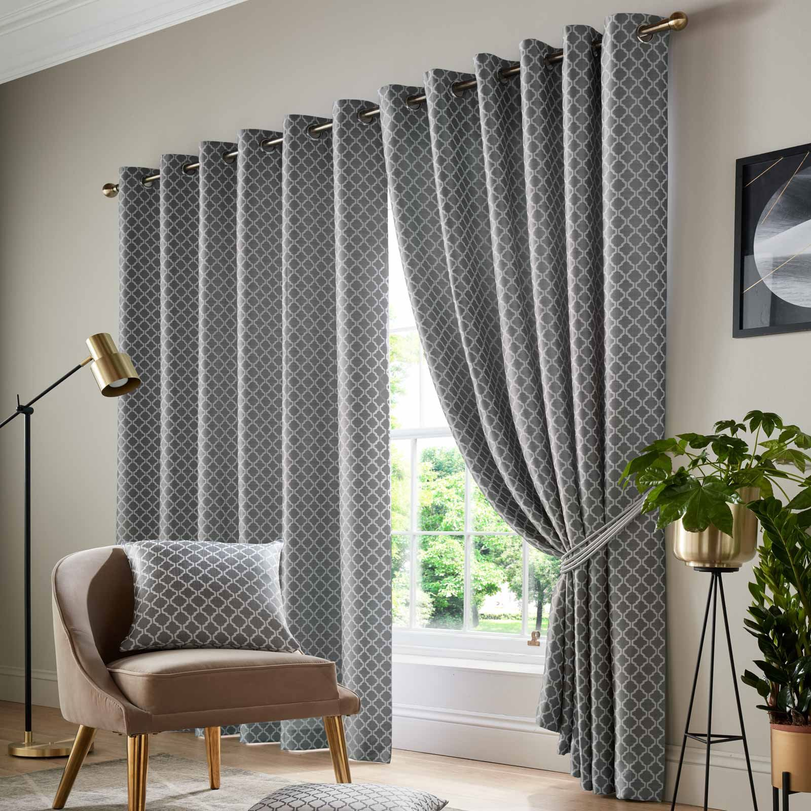 Cotswold Lined Eyelet Curtains Luxury Ready Made Jacquard