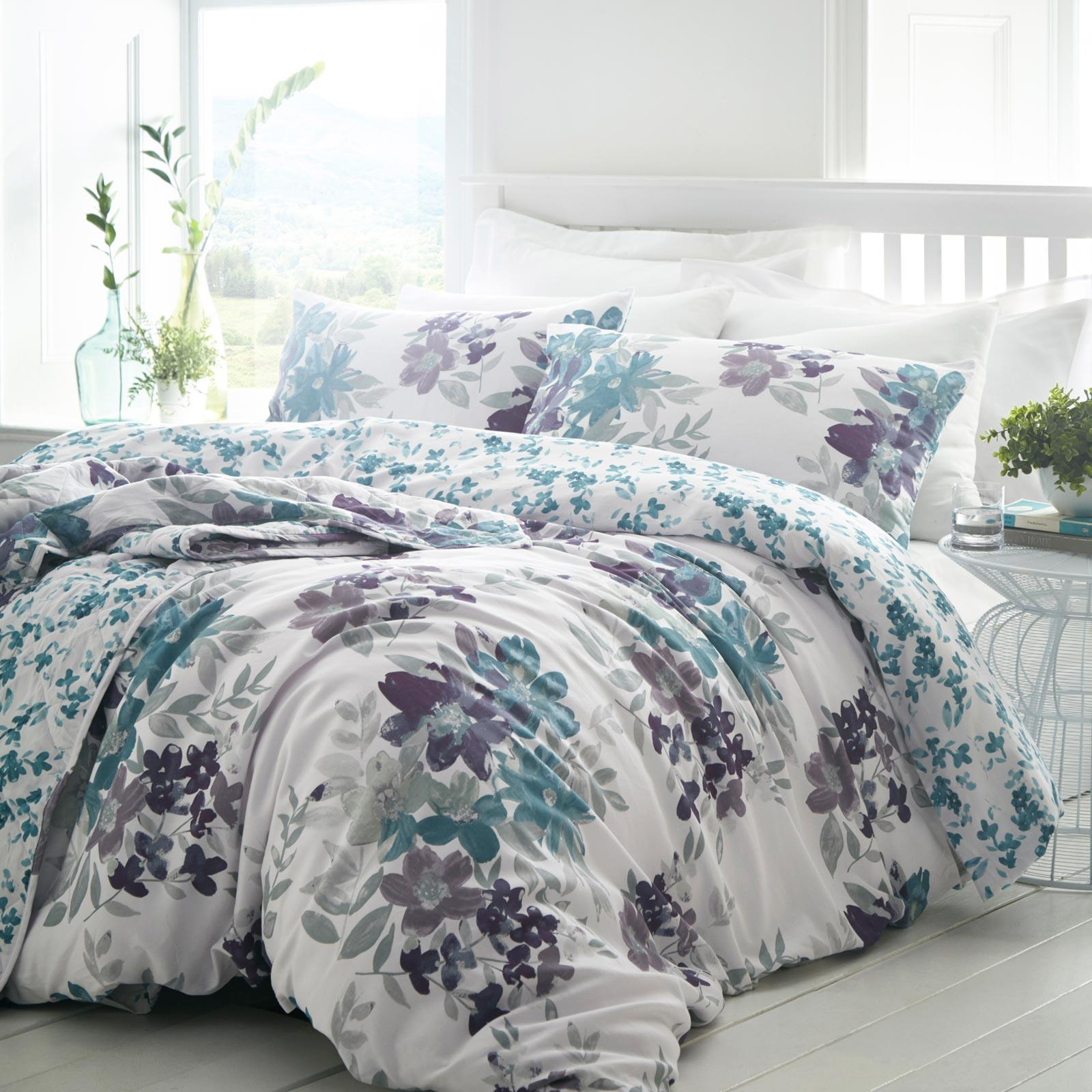 Teal Duvet Covers Floral 200 Thread Count Cotton White Quilt Cover Bedding Sets Ebay