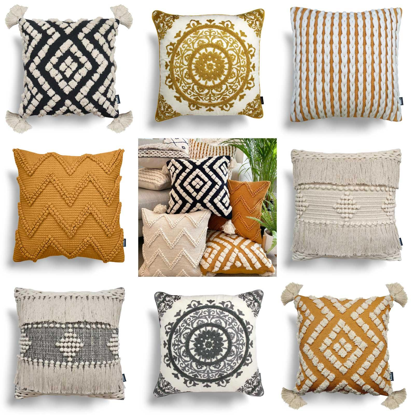 Ochre Cushion Covers Grey Rocco Boho Tufted Tassel Cream Filled Cushions 17x17 Ebay