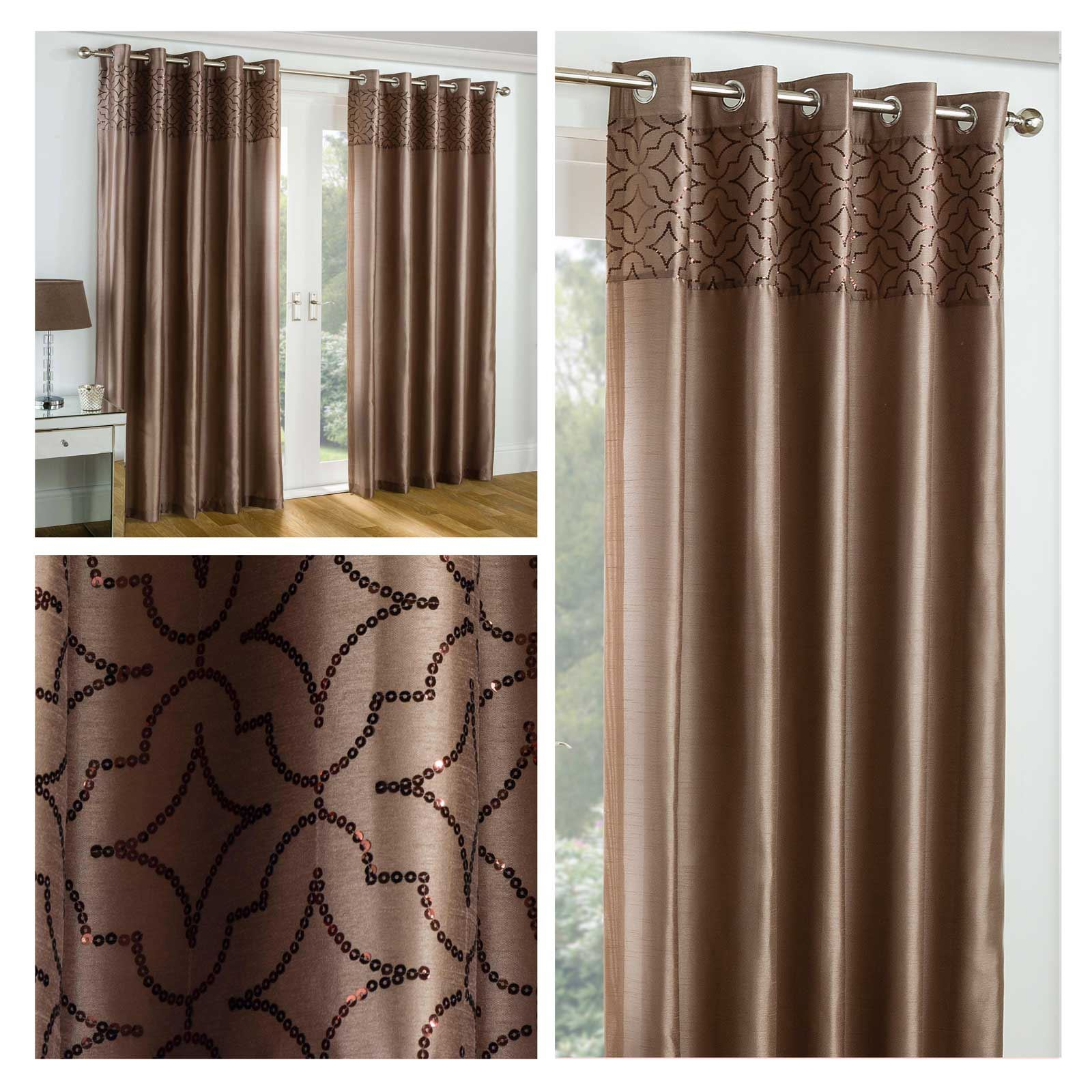 Bronze Eyelet Curtains Faux Silk Eastern Palace Sequin Ring