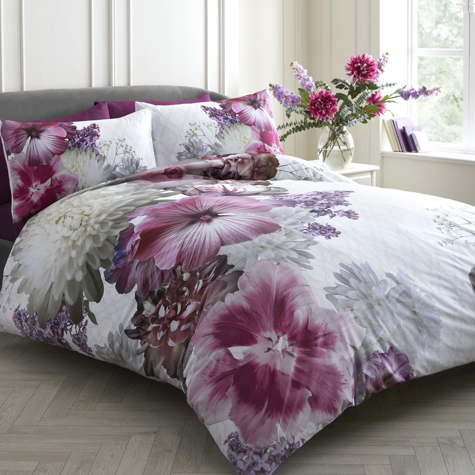 Purple Duvet Covers Floral 100 Cotton Cover Laurence Llewellyn Bowen Bedding Ebay